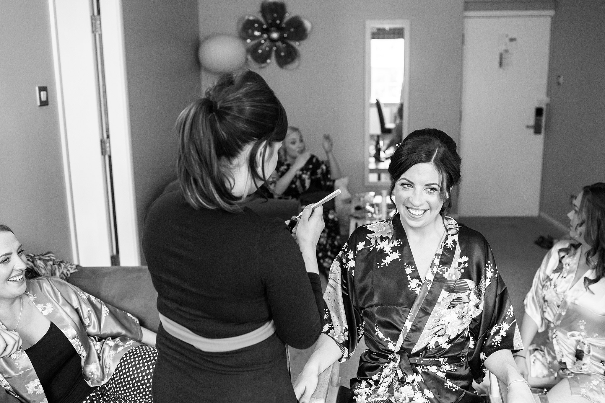 Bride and bridemaids getting ready for wedding at Browsholme Hall.