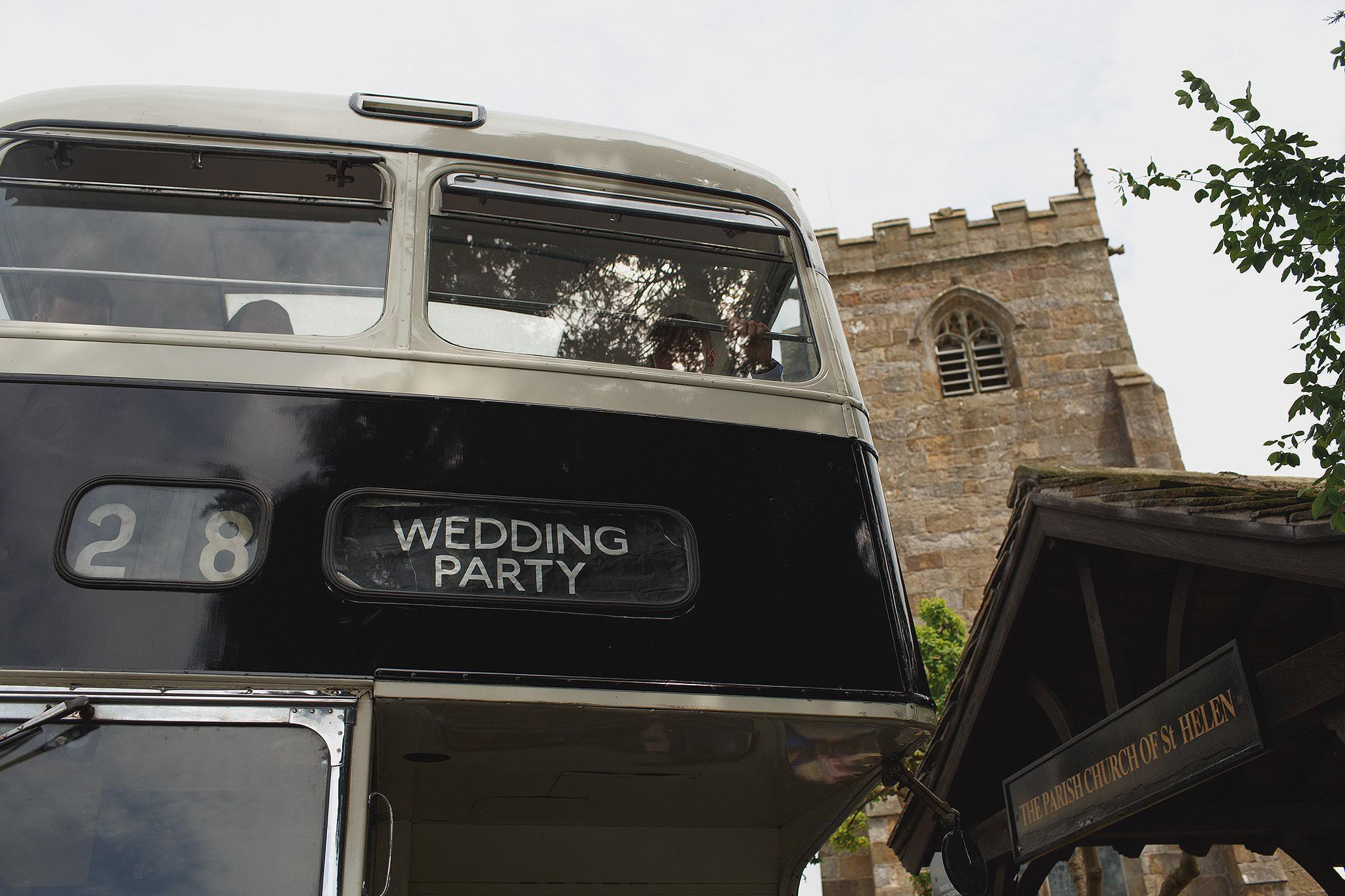 Vintage Bus at a Browsholme Hall wedding.