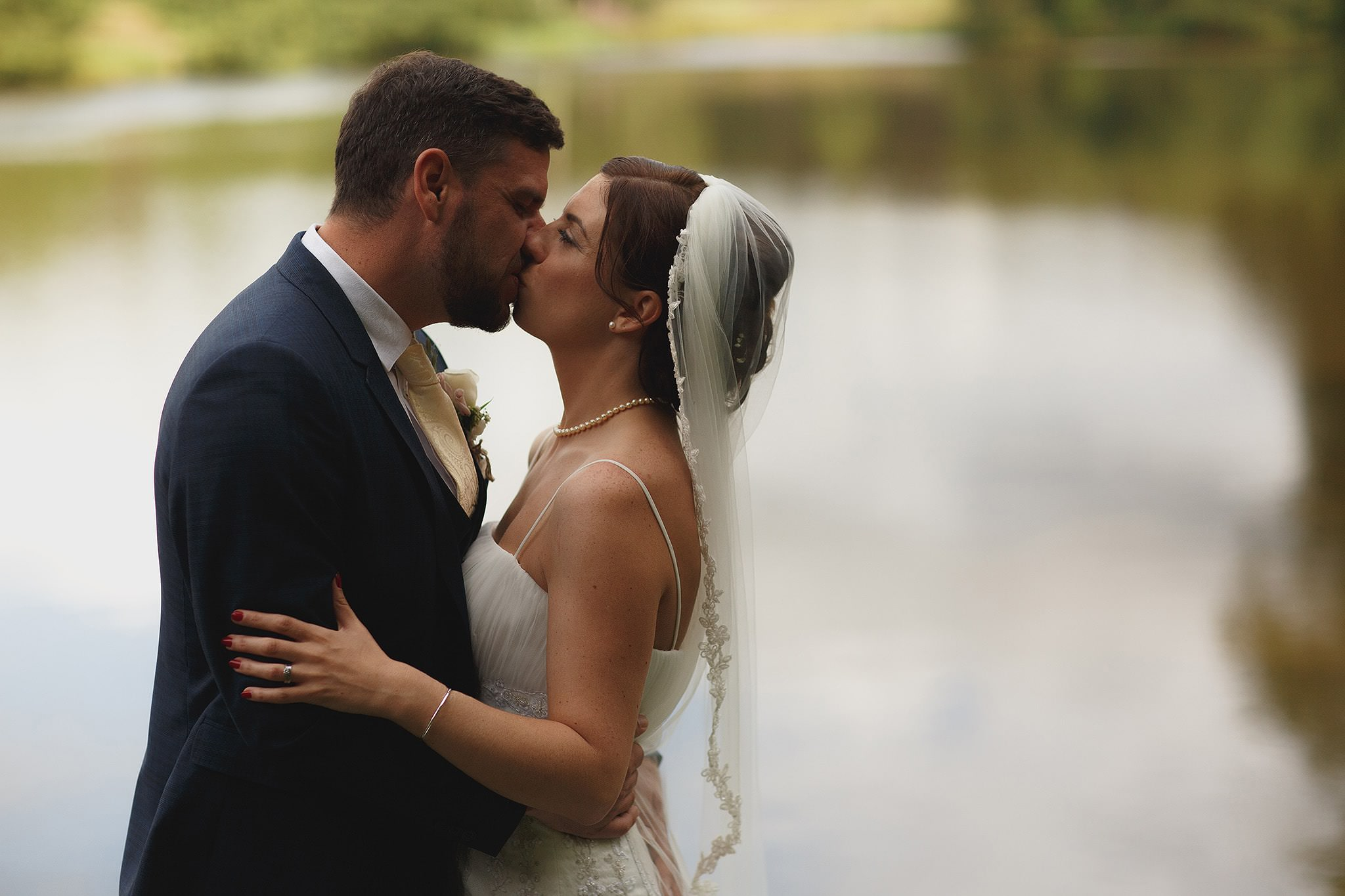 Bride and groom kissing at Browsholme Hall Wedding.