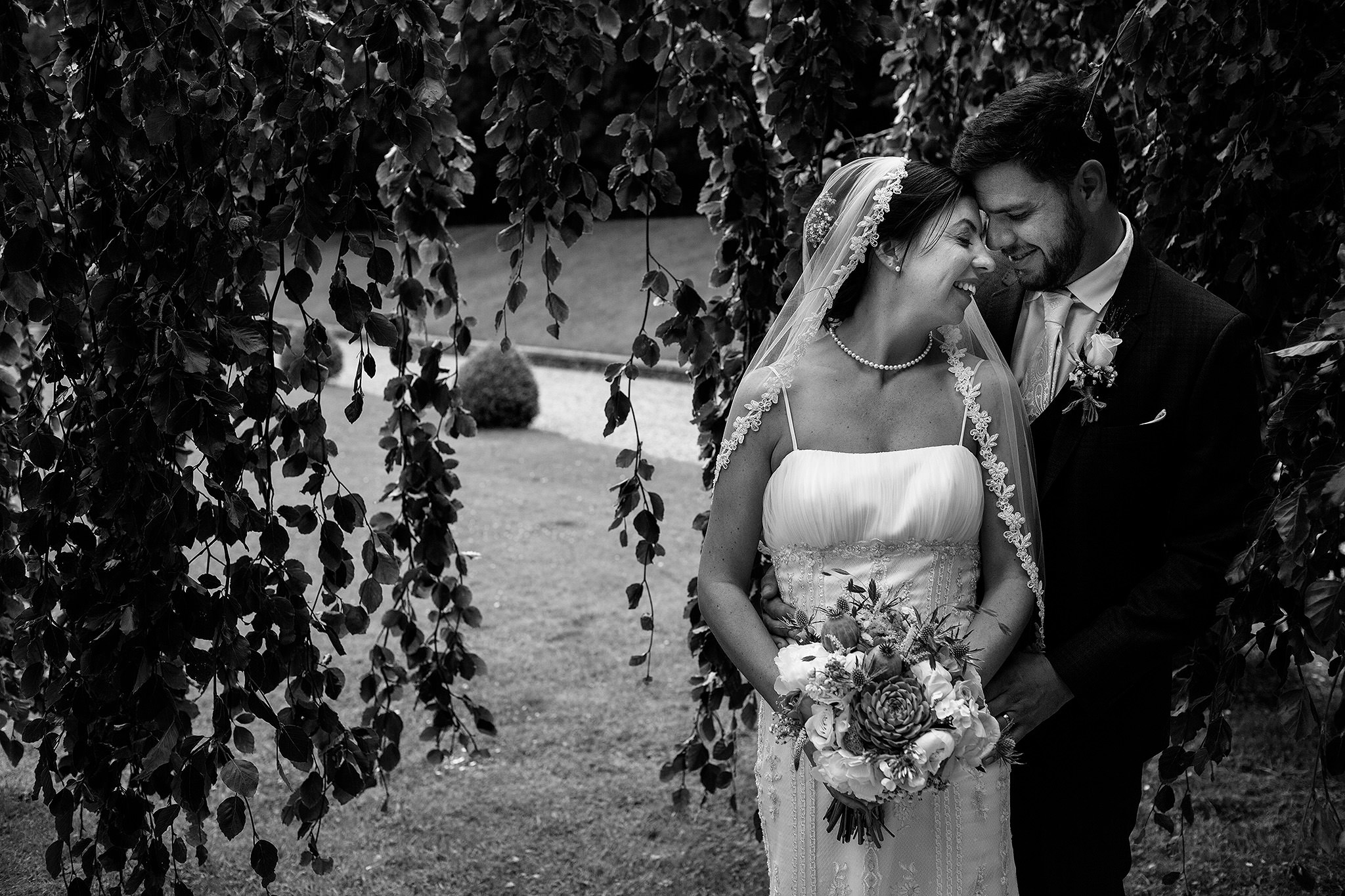 Beautiful black and white image of bride and groom at Browshome Hall wedding.