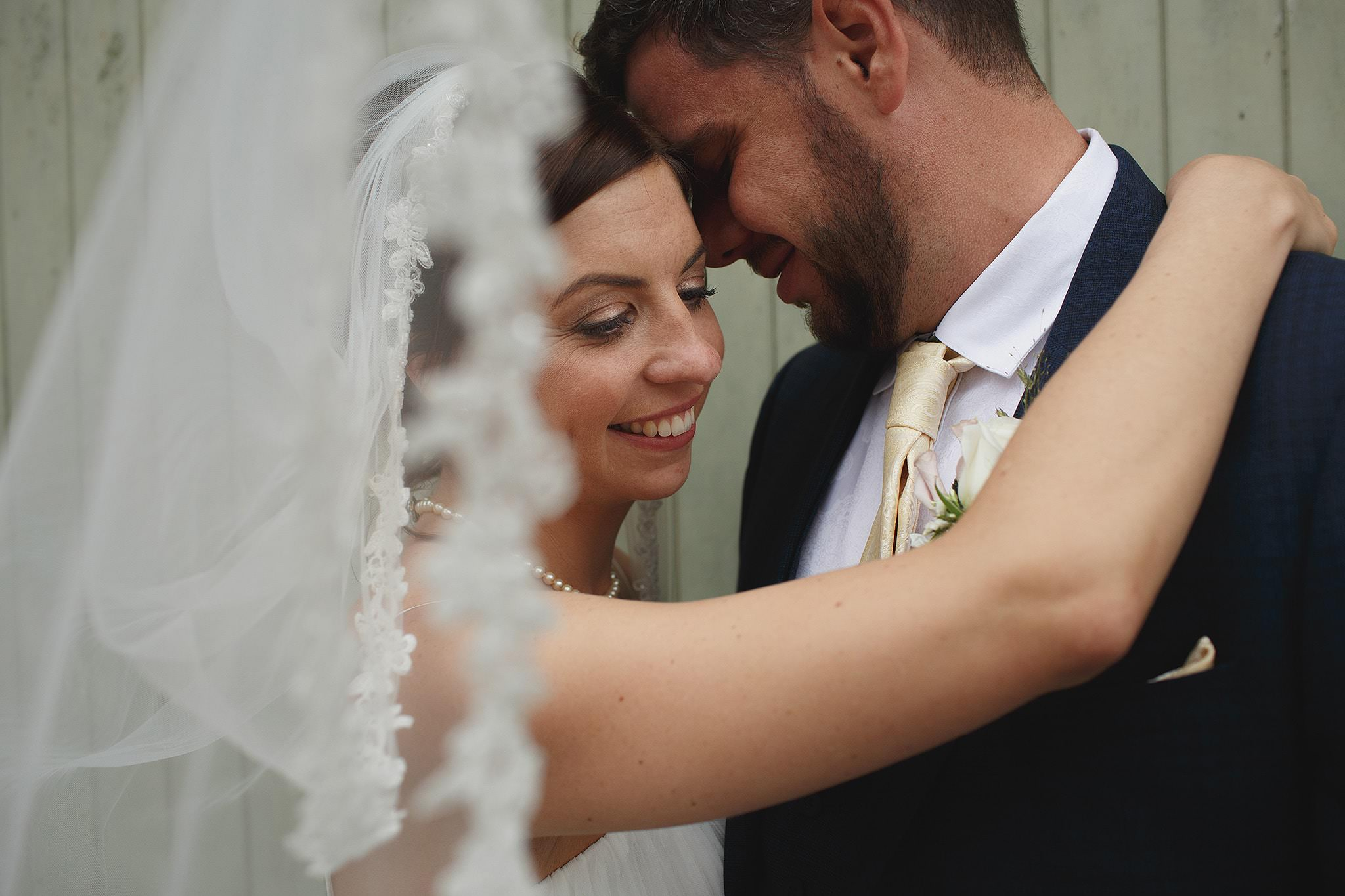 Beautiful portrait of bride and groom at Browshome Hall wedding.