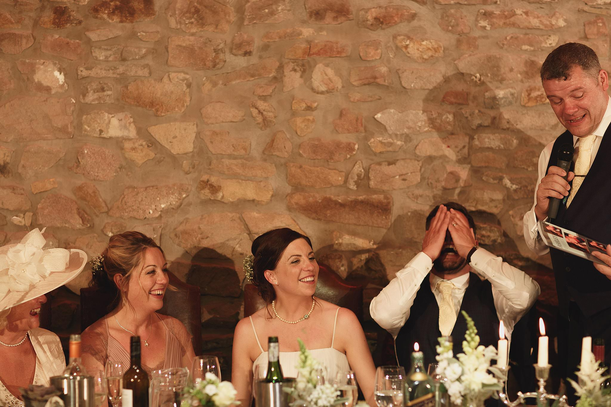 Speeches at Browsholme Hall wedding.