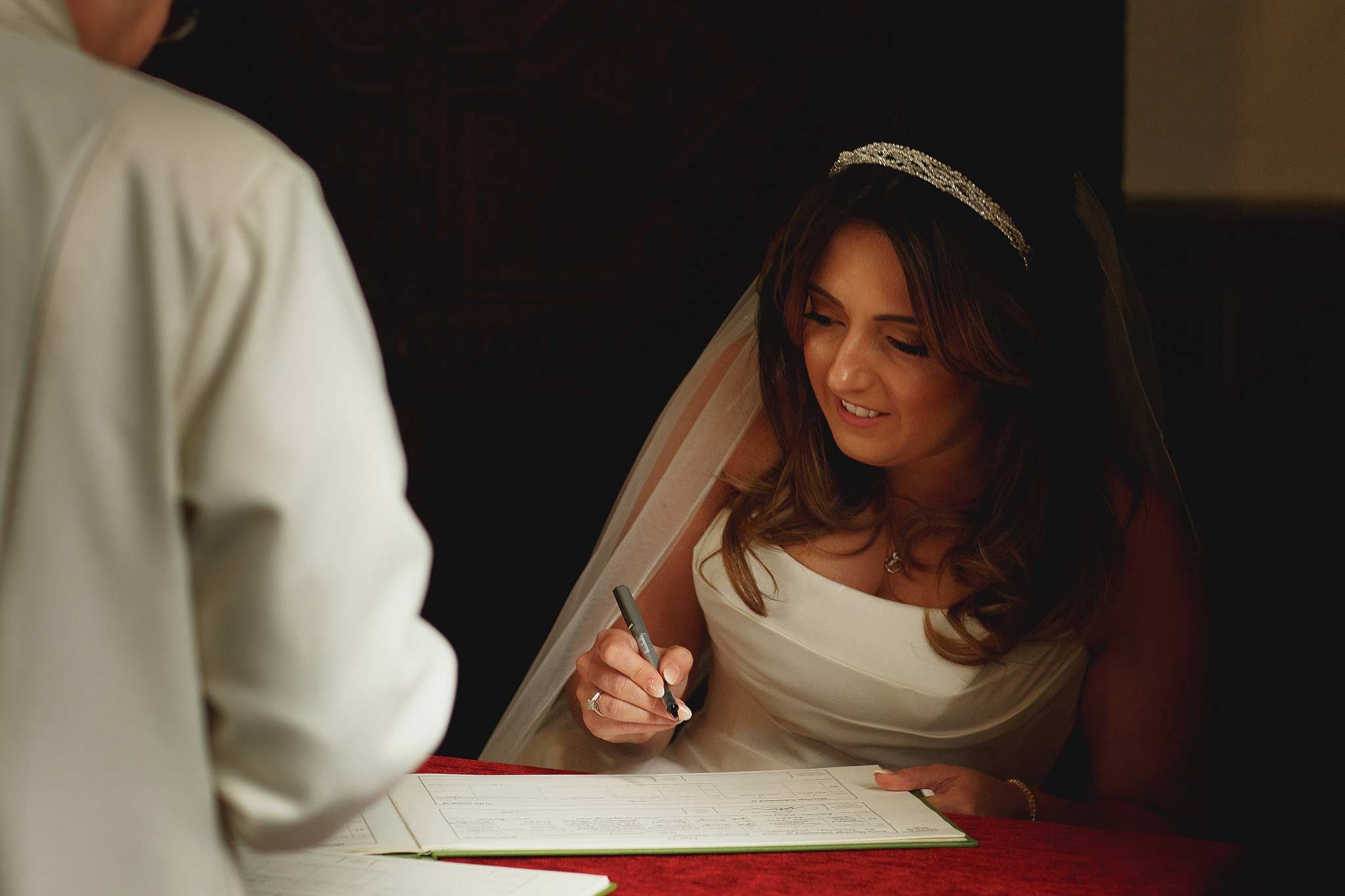 Bride signing the register at the Inn at Whitewell