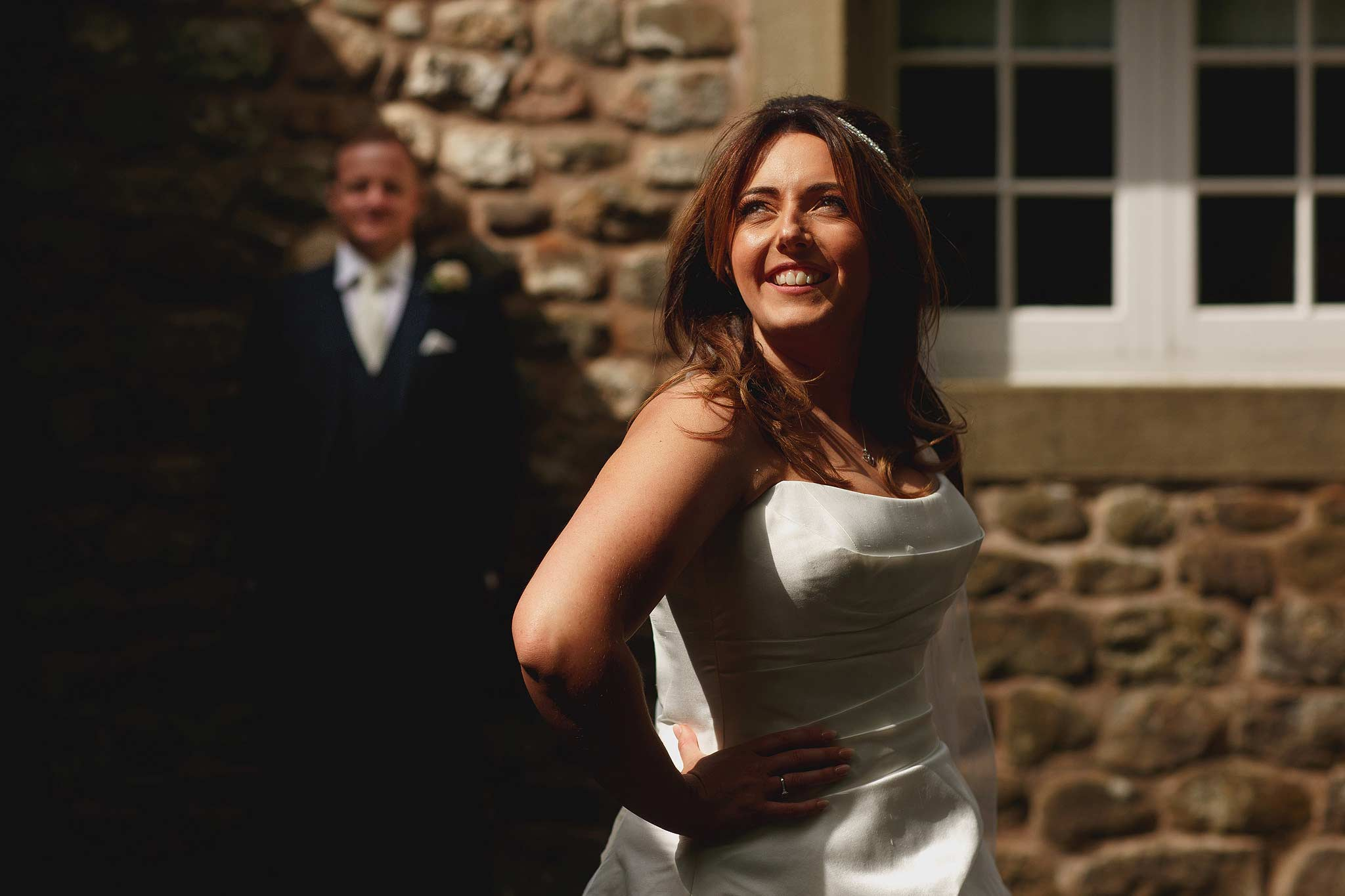 Creative Inn at Whitewell wedding photographs using harsh lighting.