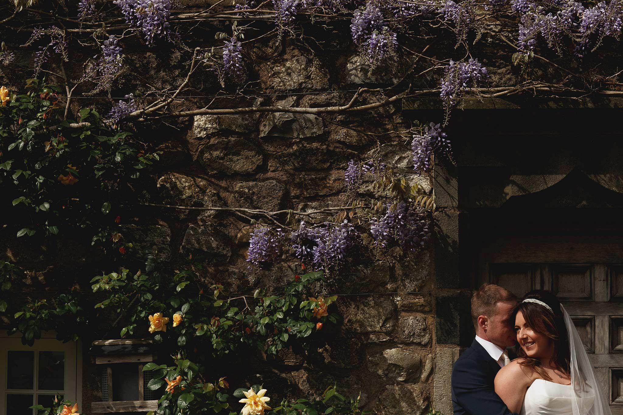 Bride and groom pictures outside the inn at whitewell