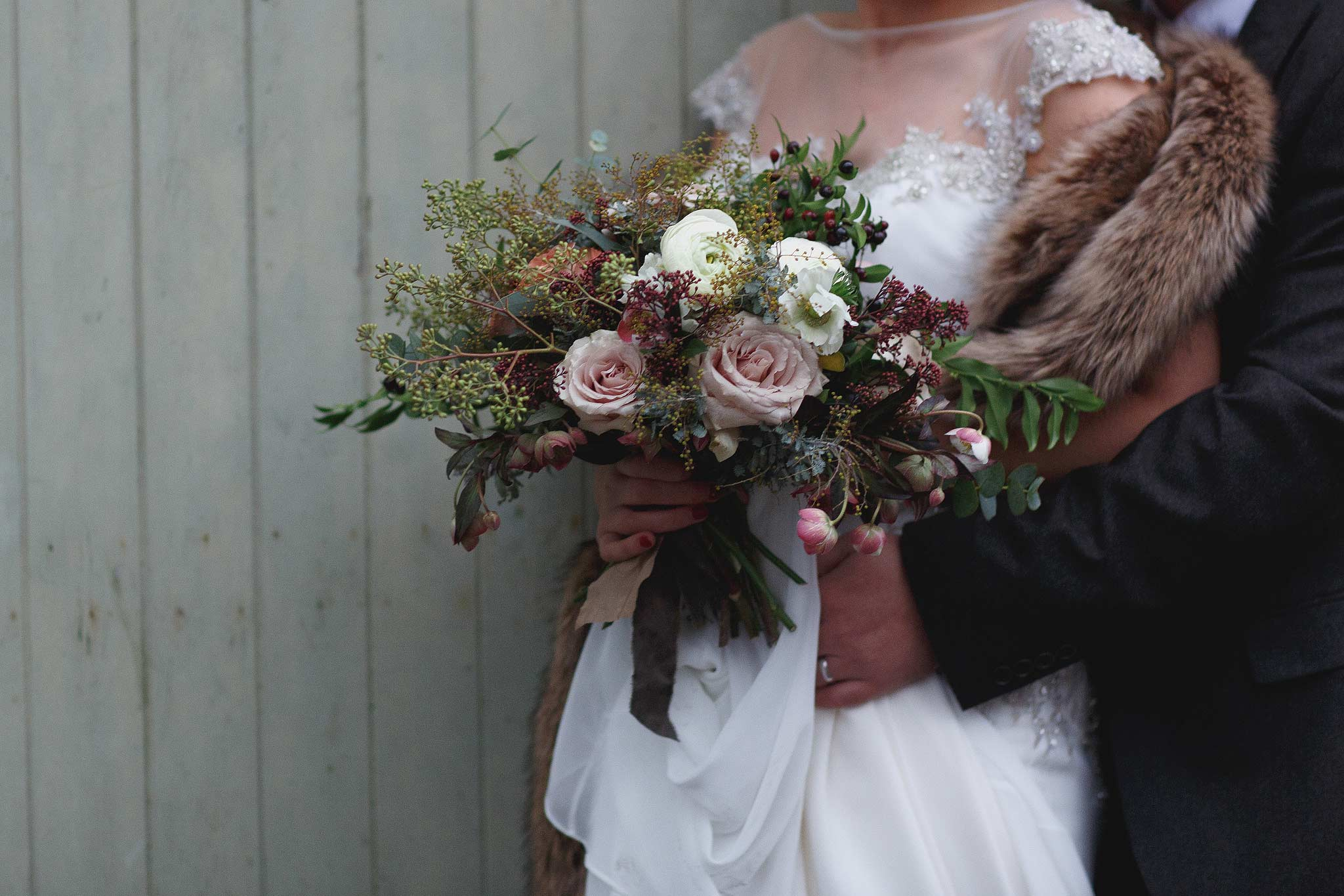 photograph of wedding bouquet at Browsholme Hall