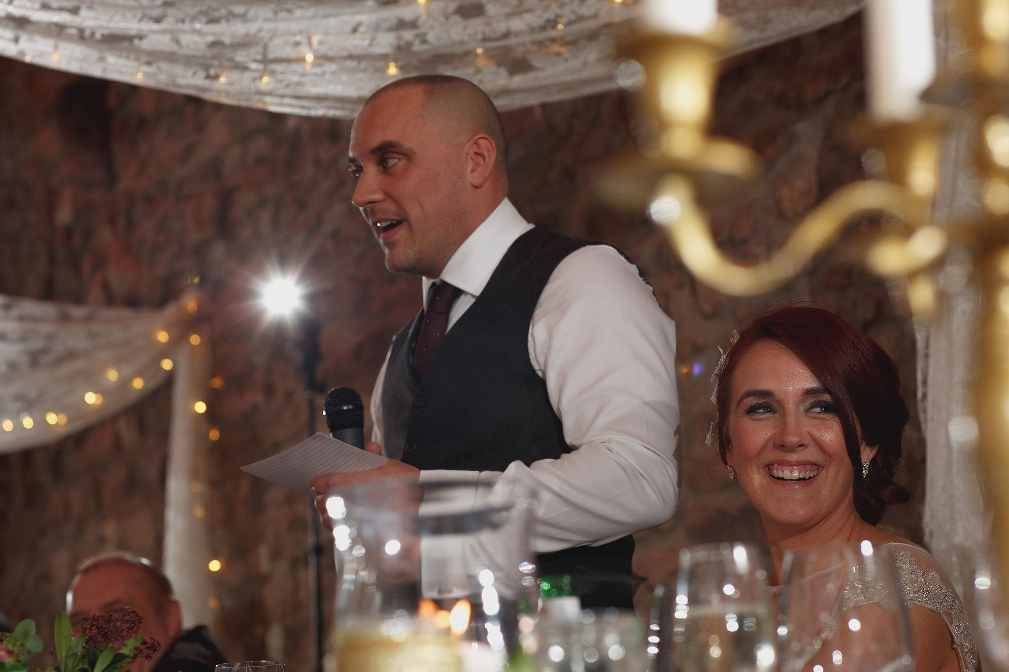 Wedding speeches at Browsholme Hall Wedding.