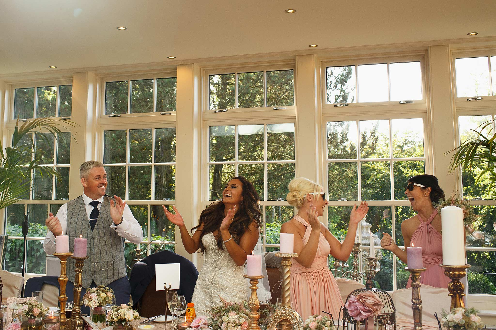 the guests on the top table dancing at mitton hall