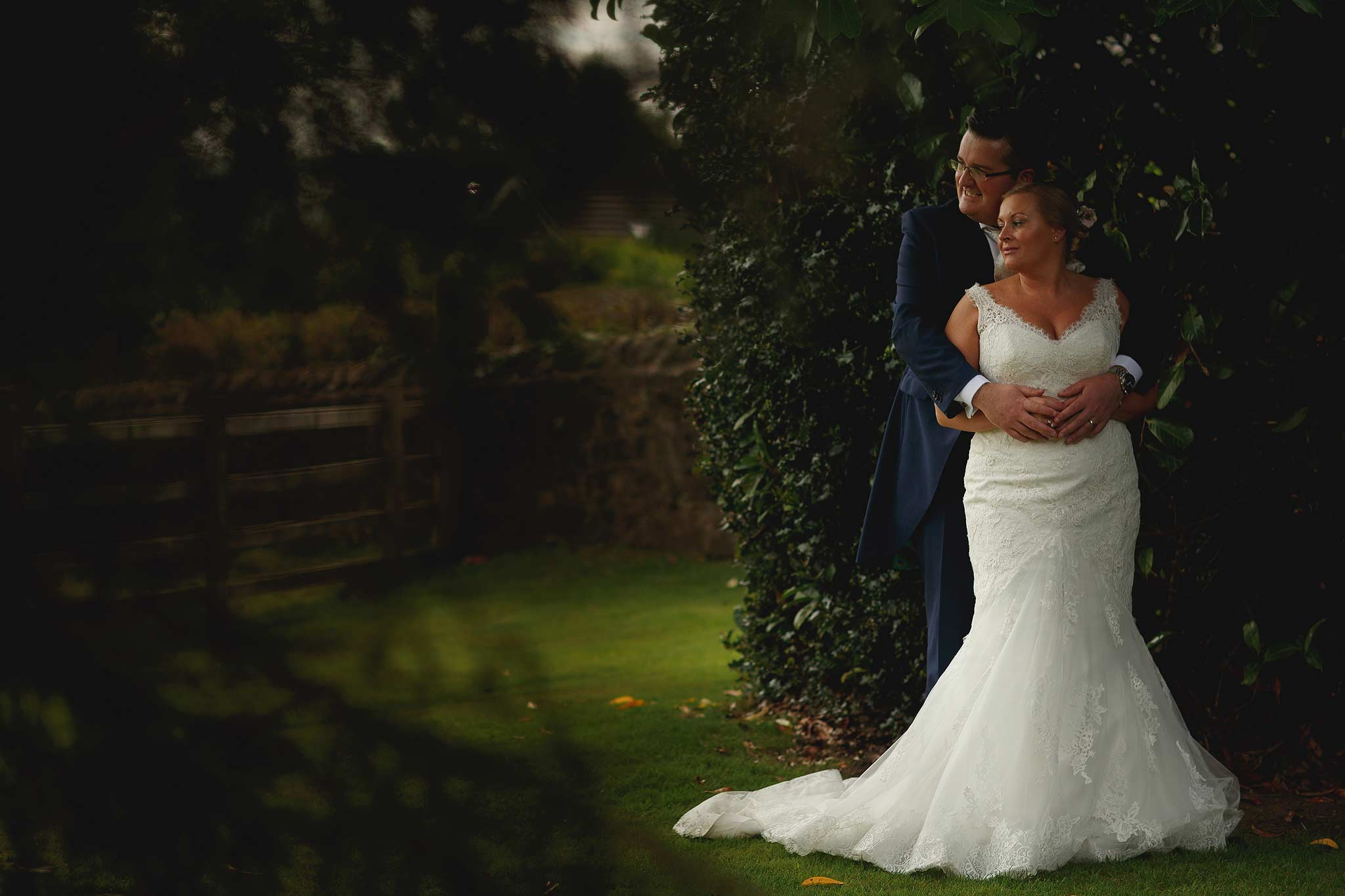 Nice light on the bride and groom at the shireburn arms