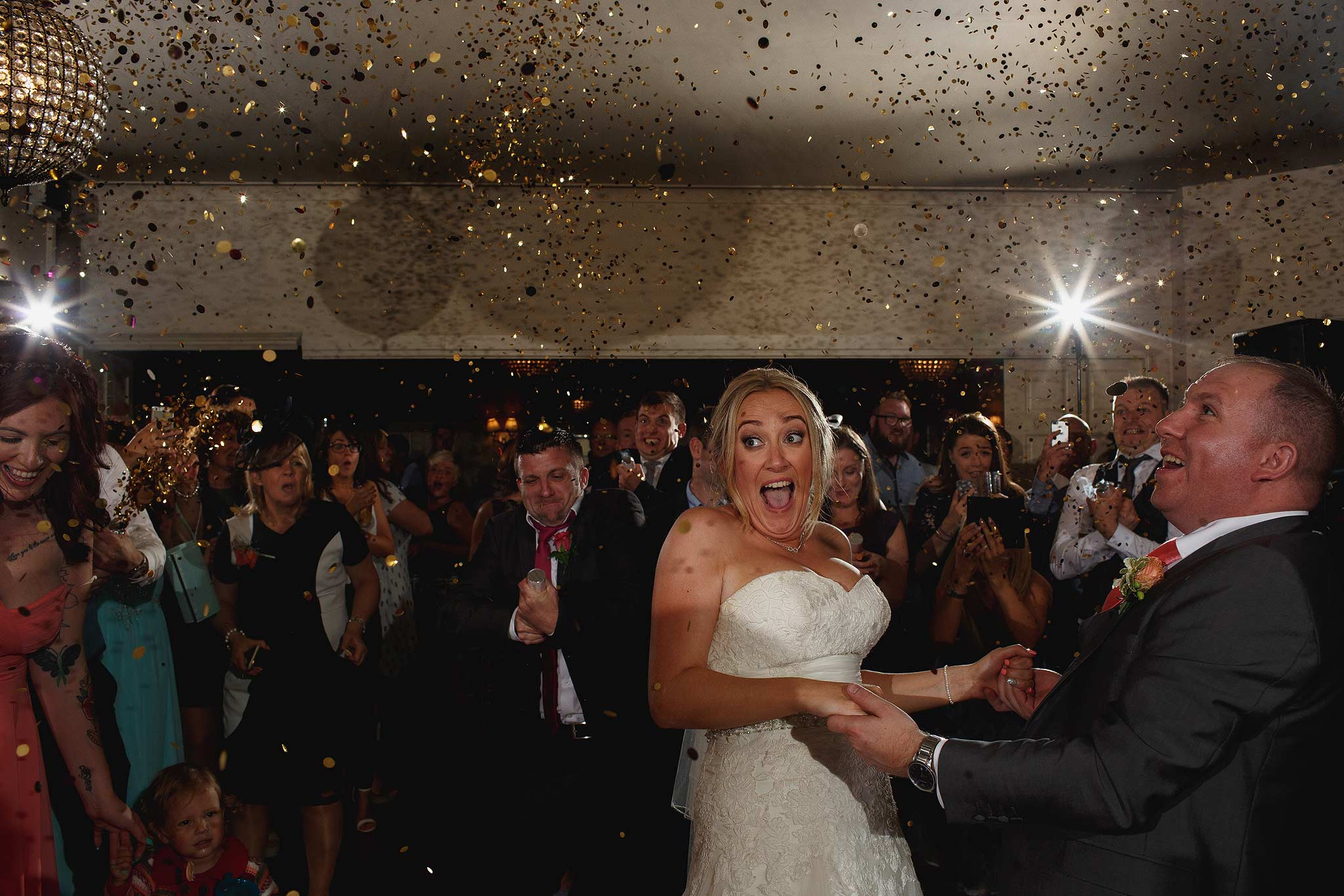 confetti canons during the first dance at shireburn arms wedding