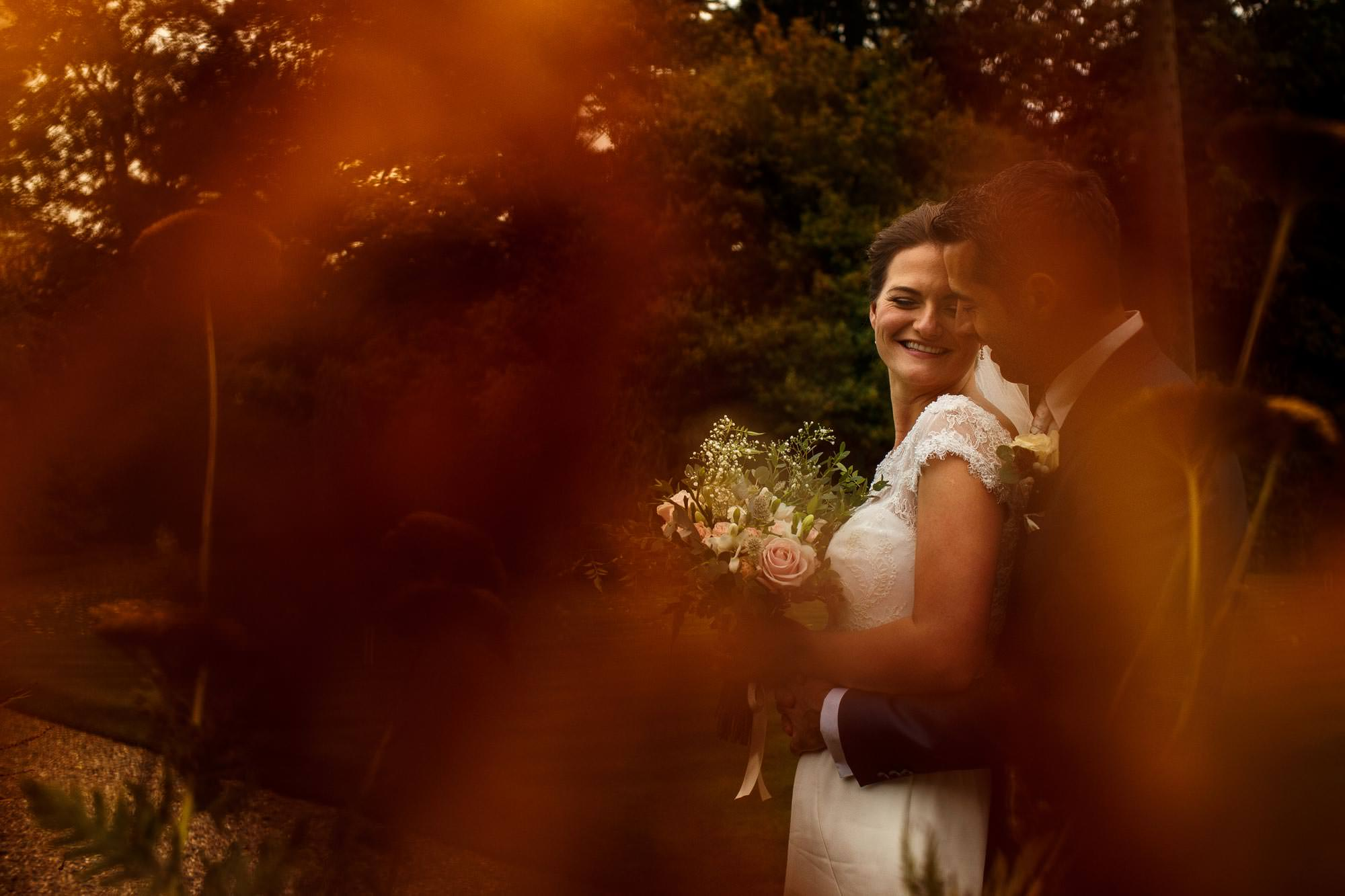 Bride and groom portrait in the gardens at Iscoyd Park