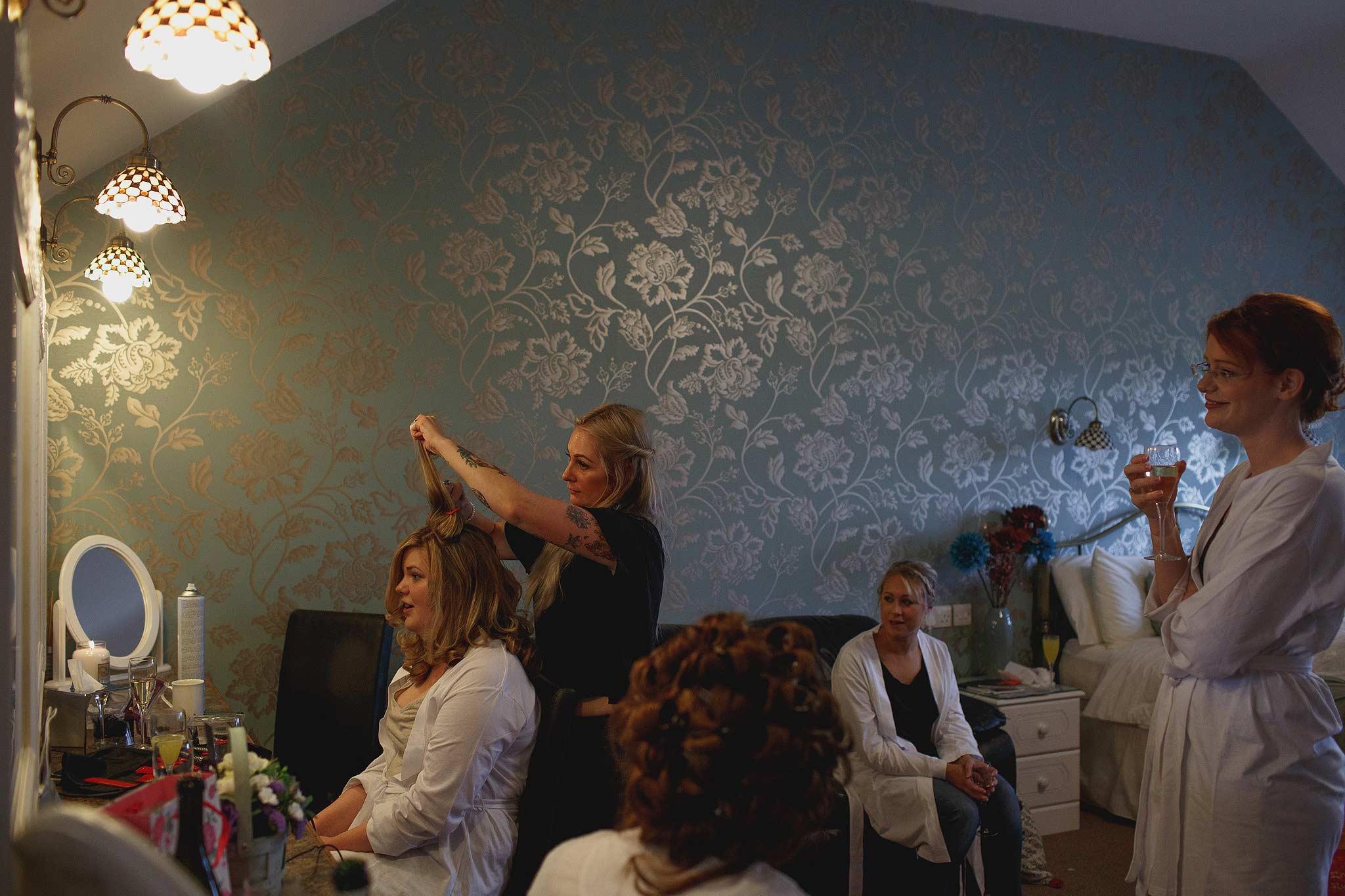 bridesmaids getting ready at Heaton House Farm