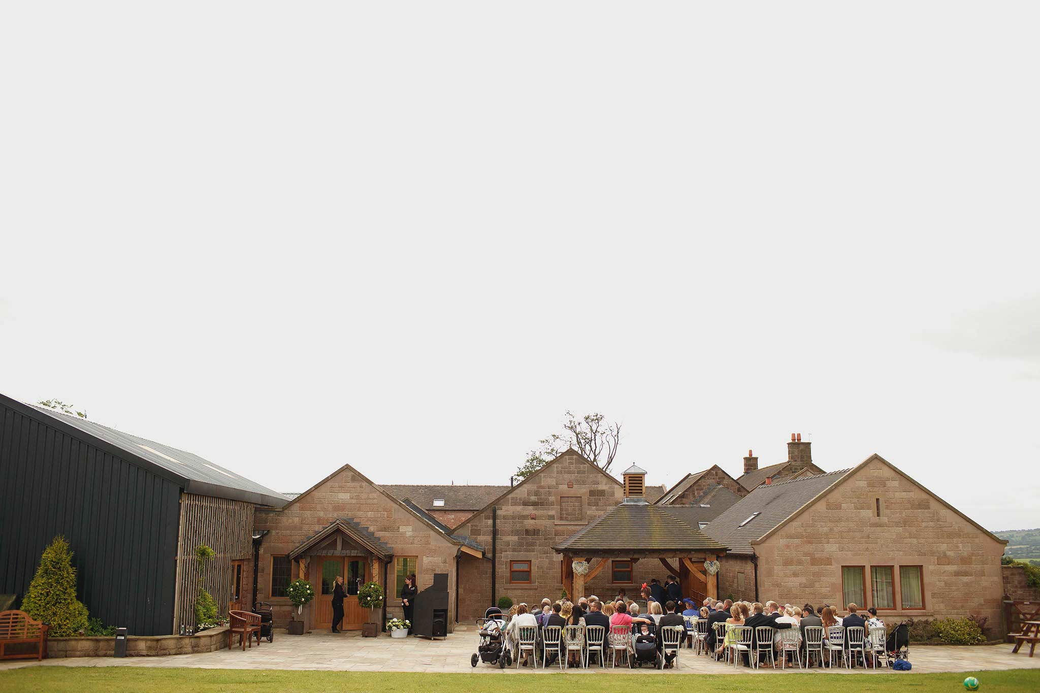 wide angle photograph of outdoor ceremony at Heaton House Farm