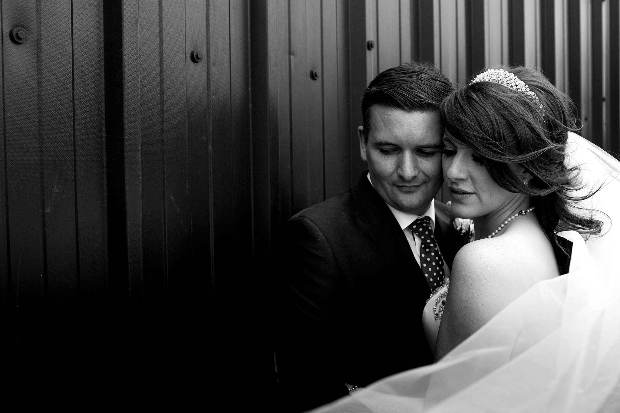 black and white photograph of newly weds at Heaton House Farm
