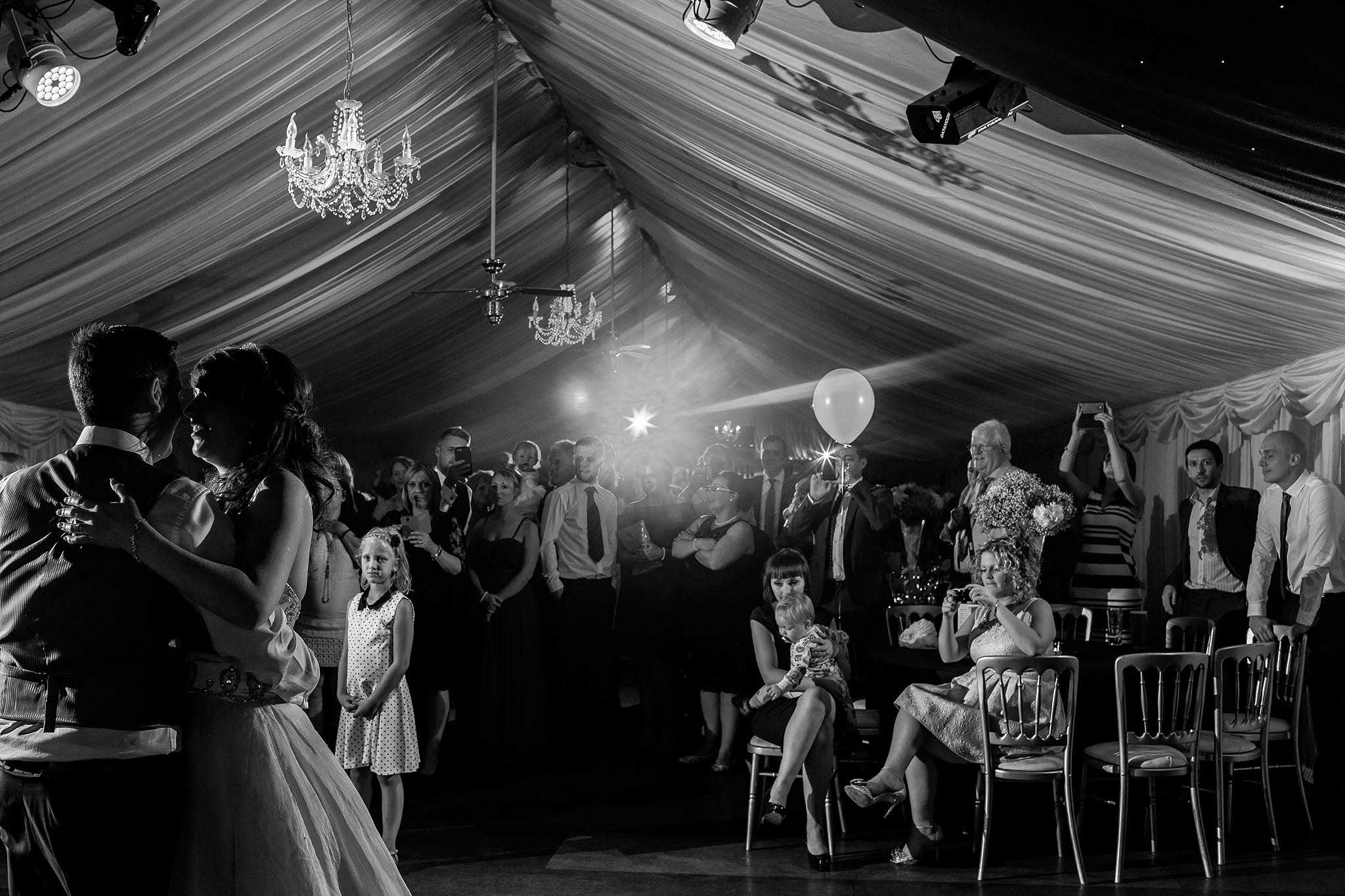 bride and groom during first dance at Heaton House Farm
