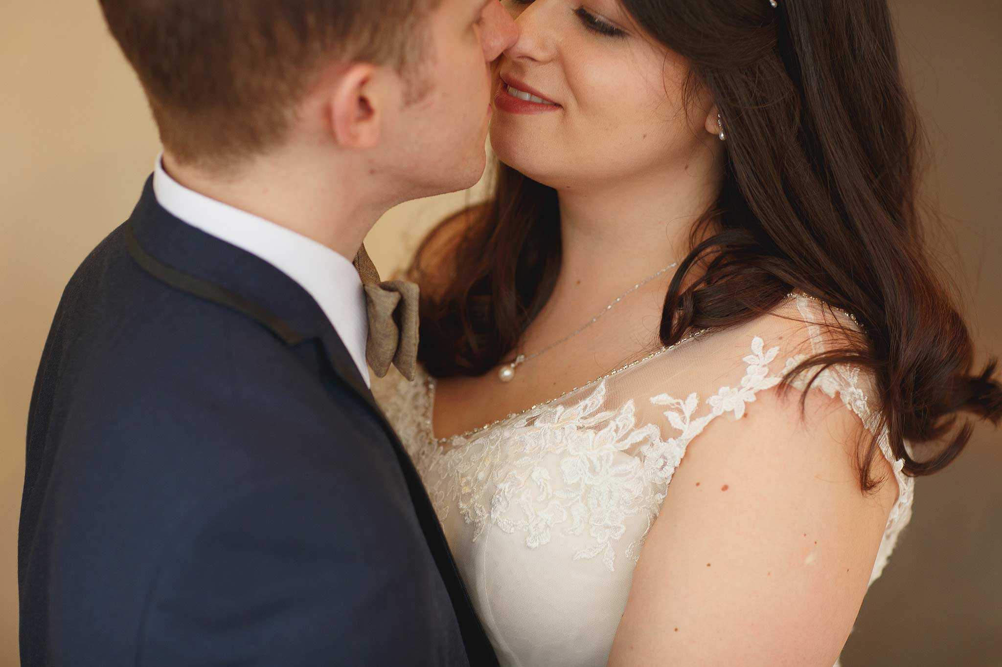 Clean cropped indoor portrait of the bride and groom at the shireburn arms