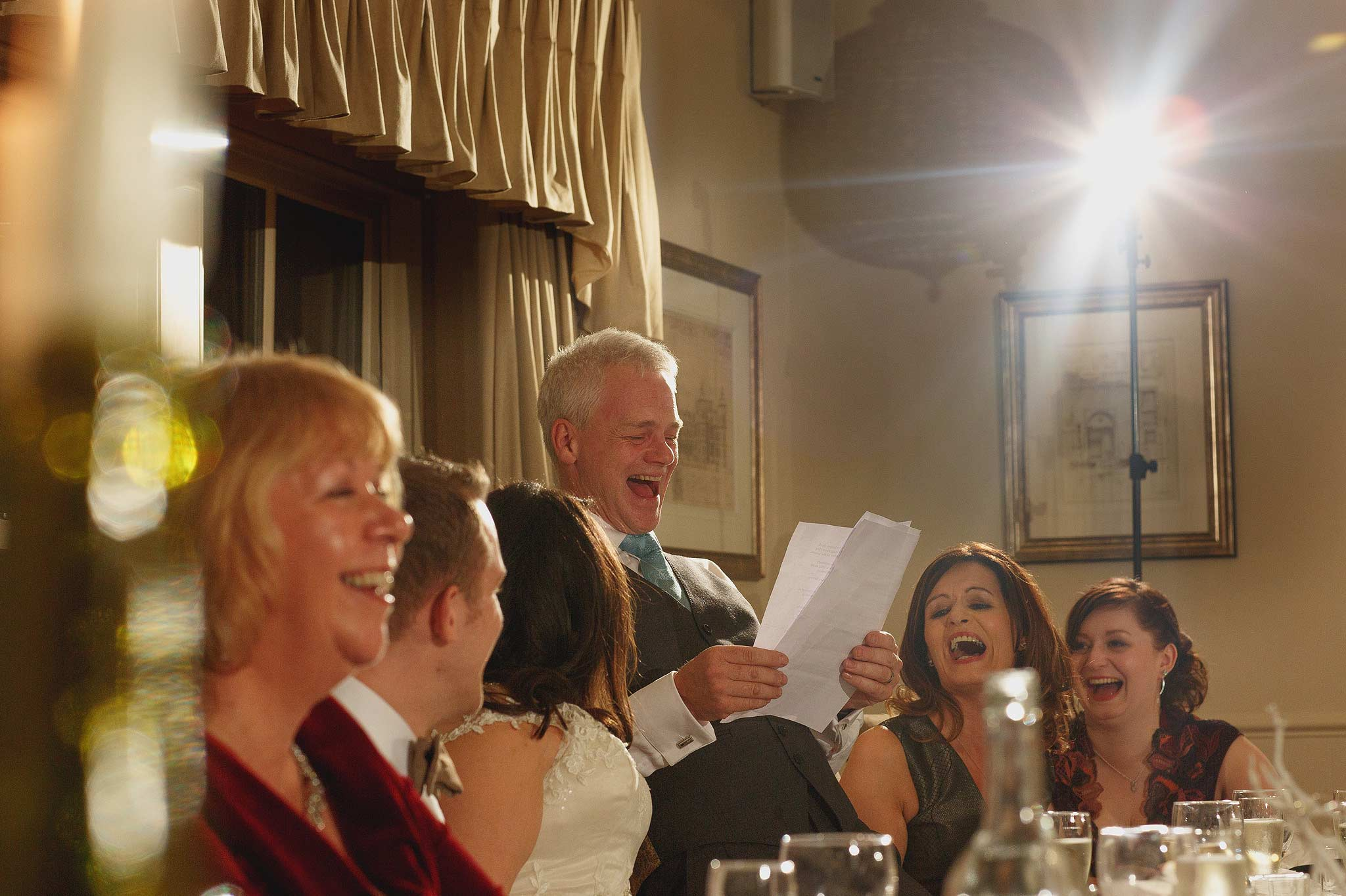 top table laughing during speeches at the shireburn arms