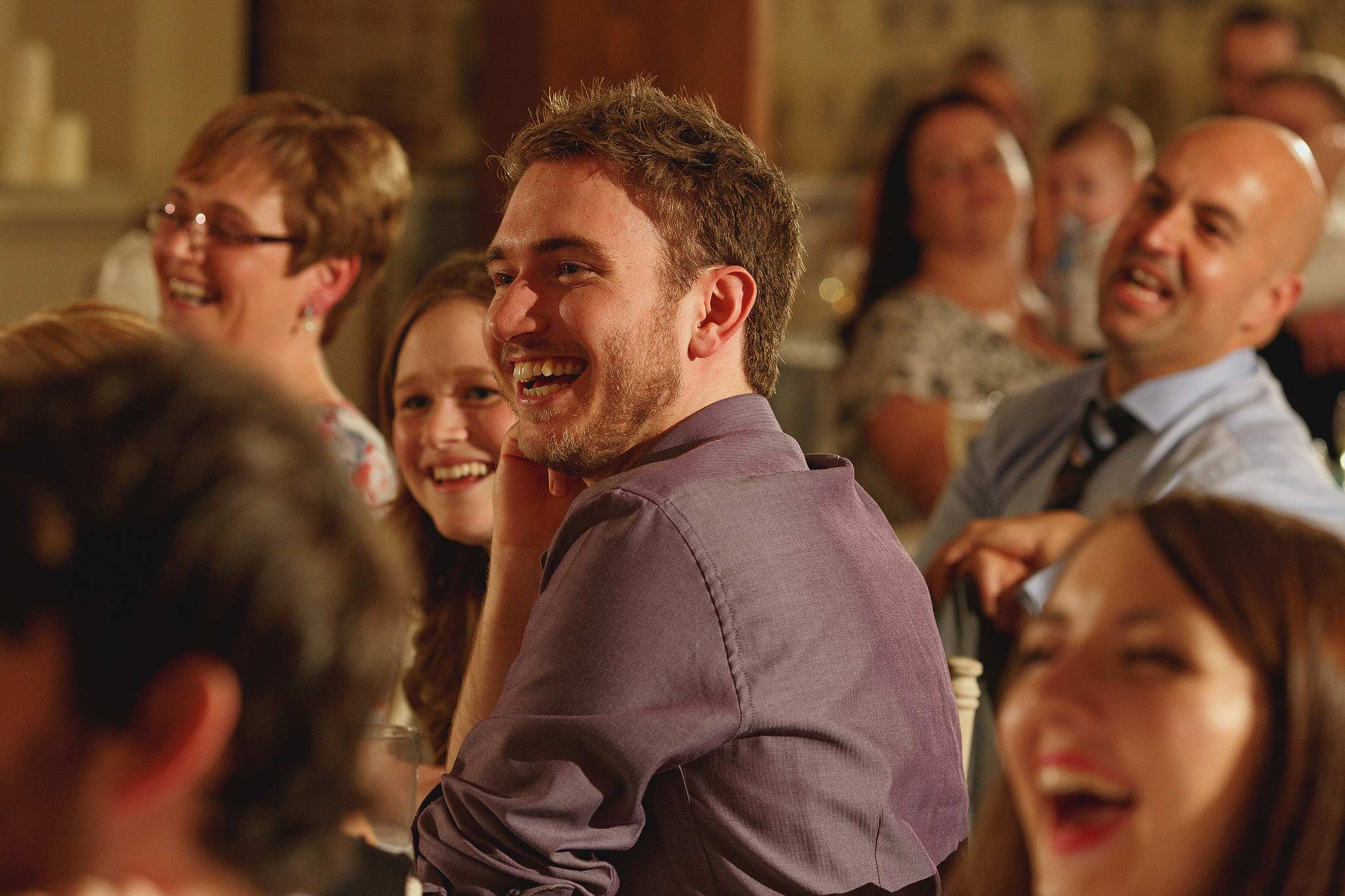 guests laughing during the speeches at the shireburn arms