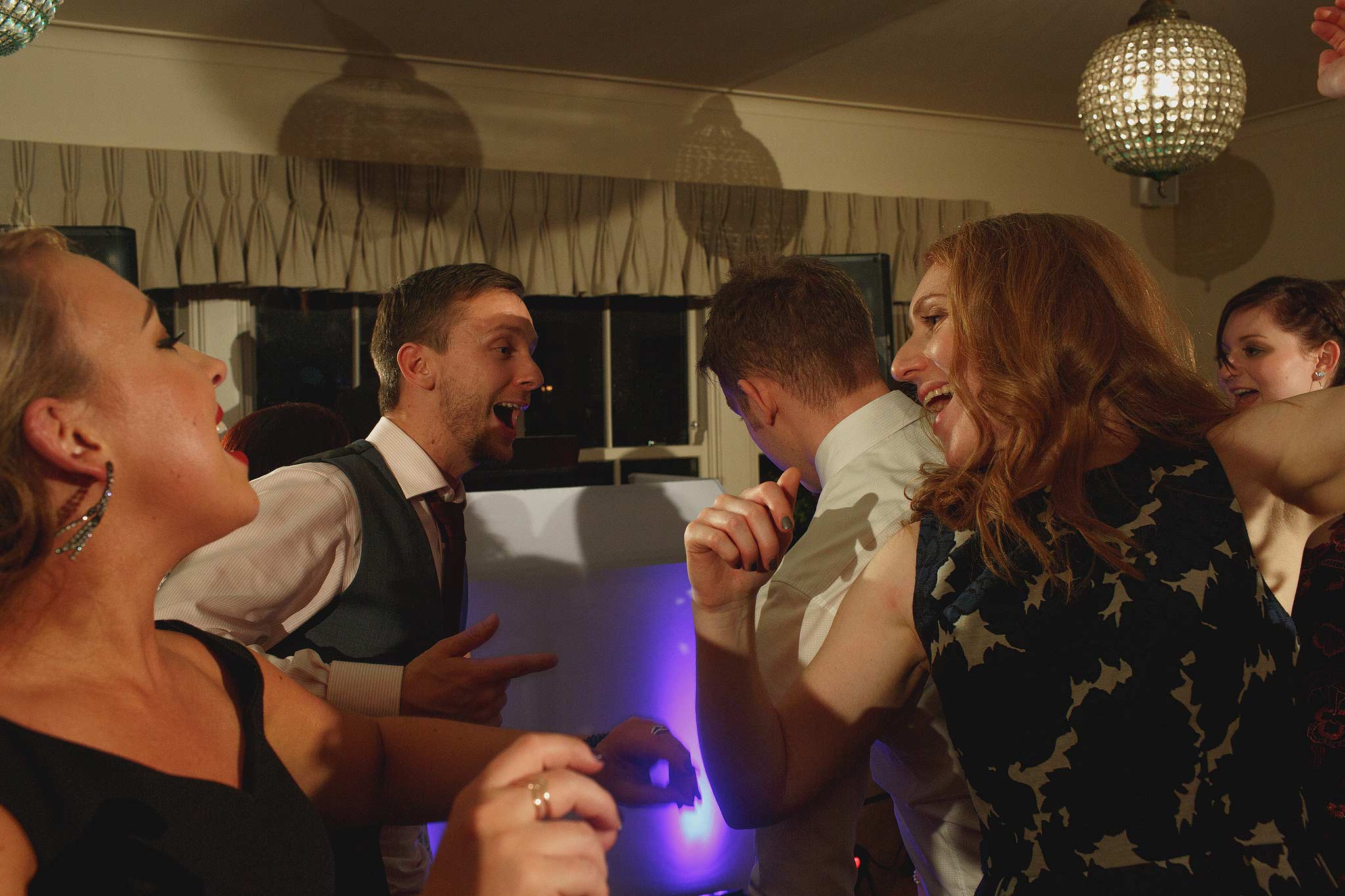 Guests dancing during the wedding reception at the shireburn arms