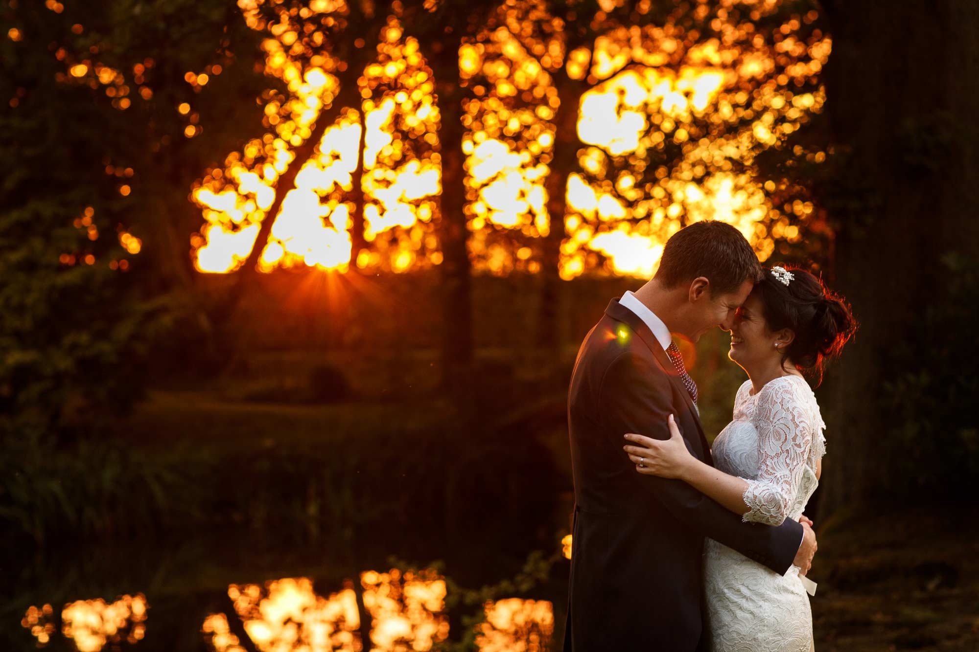 Wedding portrait of bride and groom during sunset at colshaw hall wedding