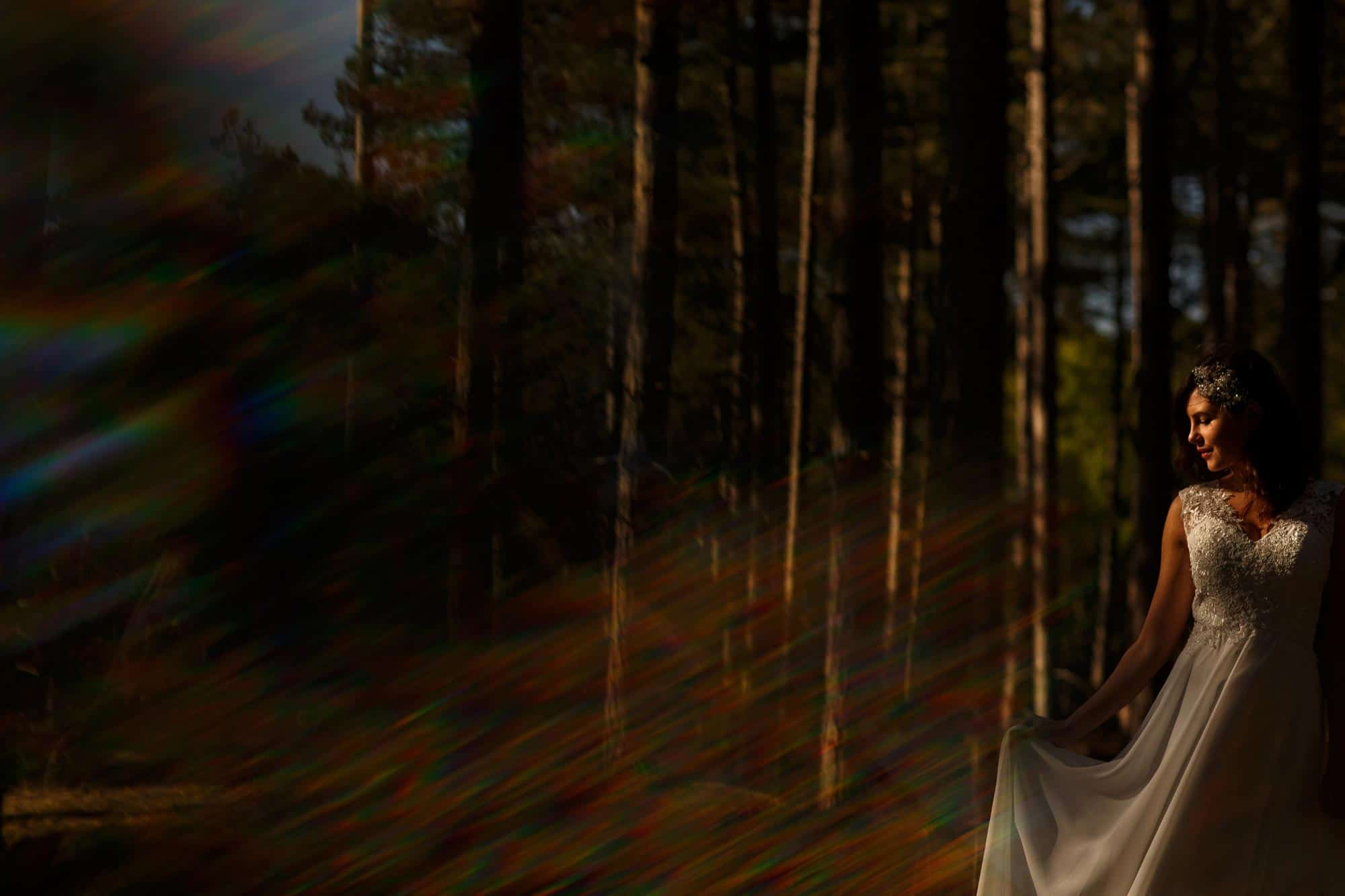 Bride in the woods with flowing dress