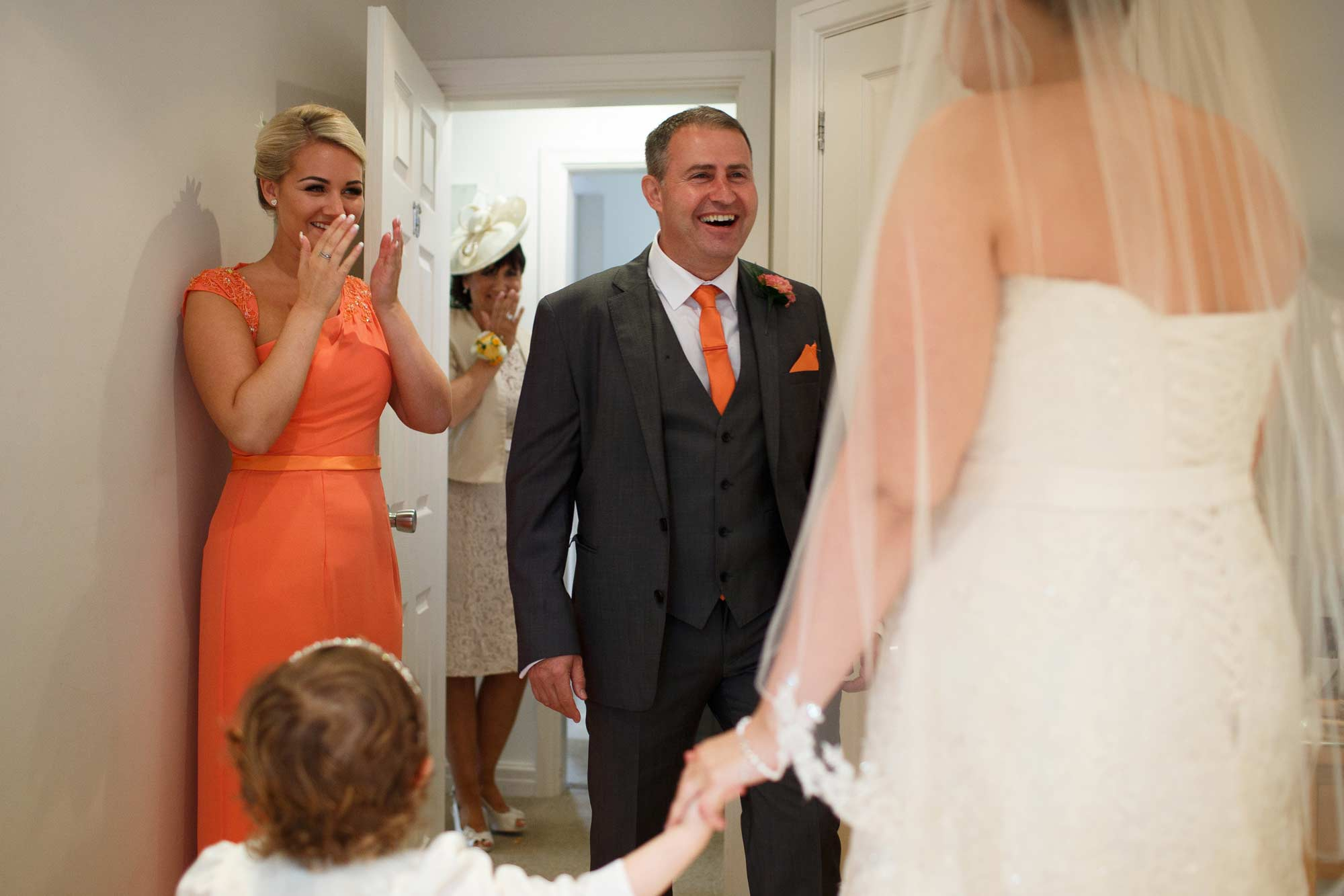 Emotion father as he sees bride for the first time at Singleton Lodge wedding