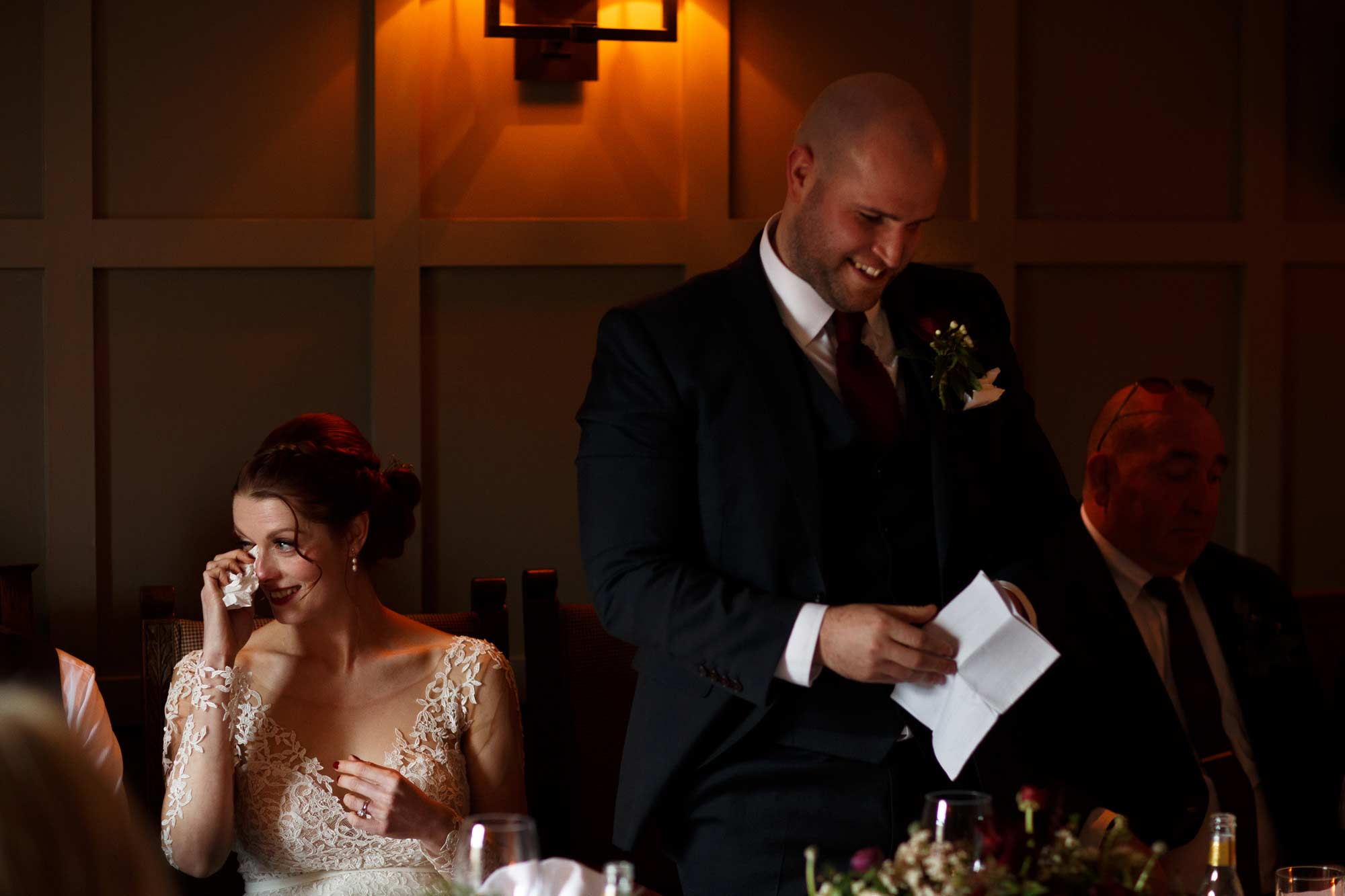 emotional bride and groom during speeches at lancashire wedding