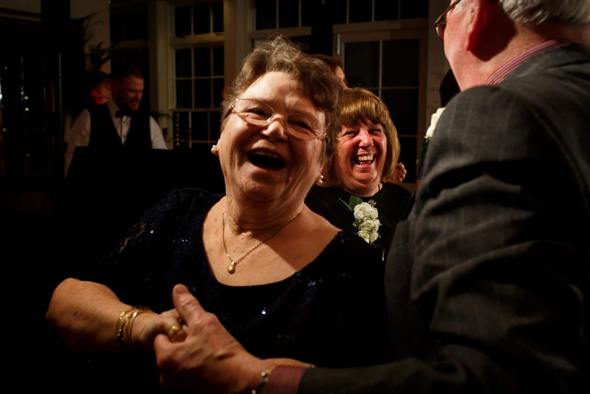 Wedding guests dancing at Mitton Hall wedding
