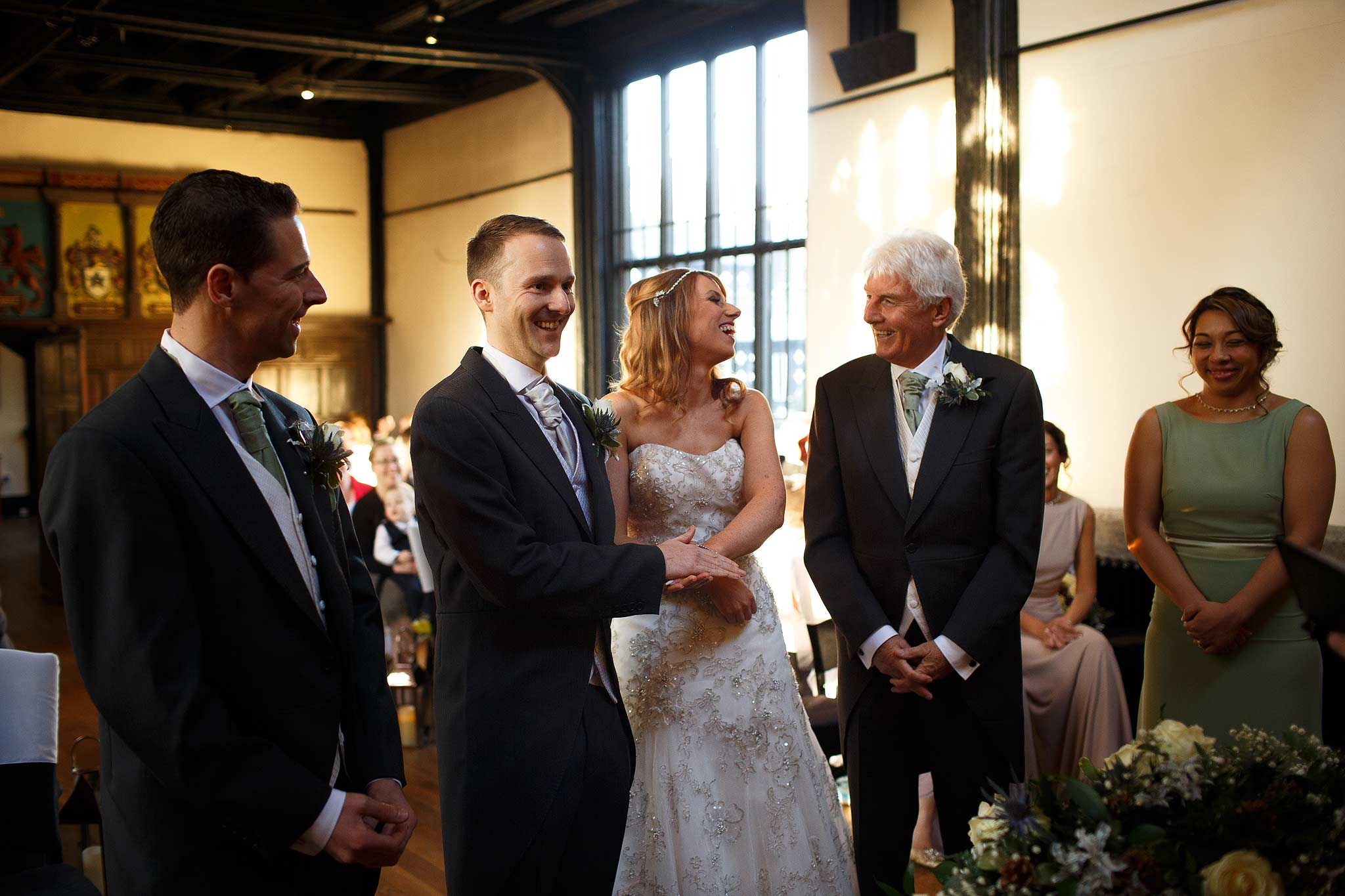 Father of the bride giving his daughter away at Samlesbury Hall