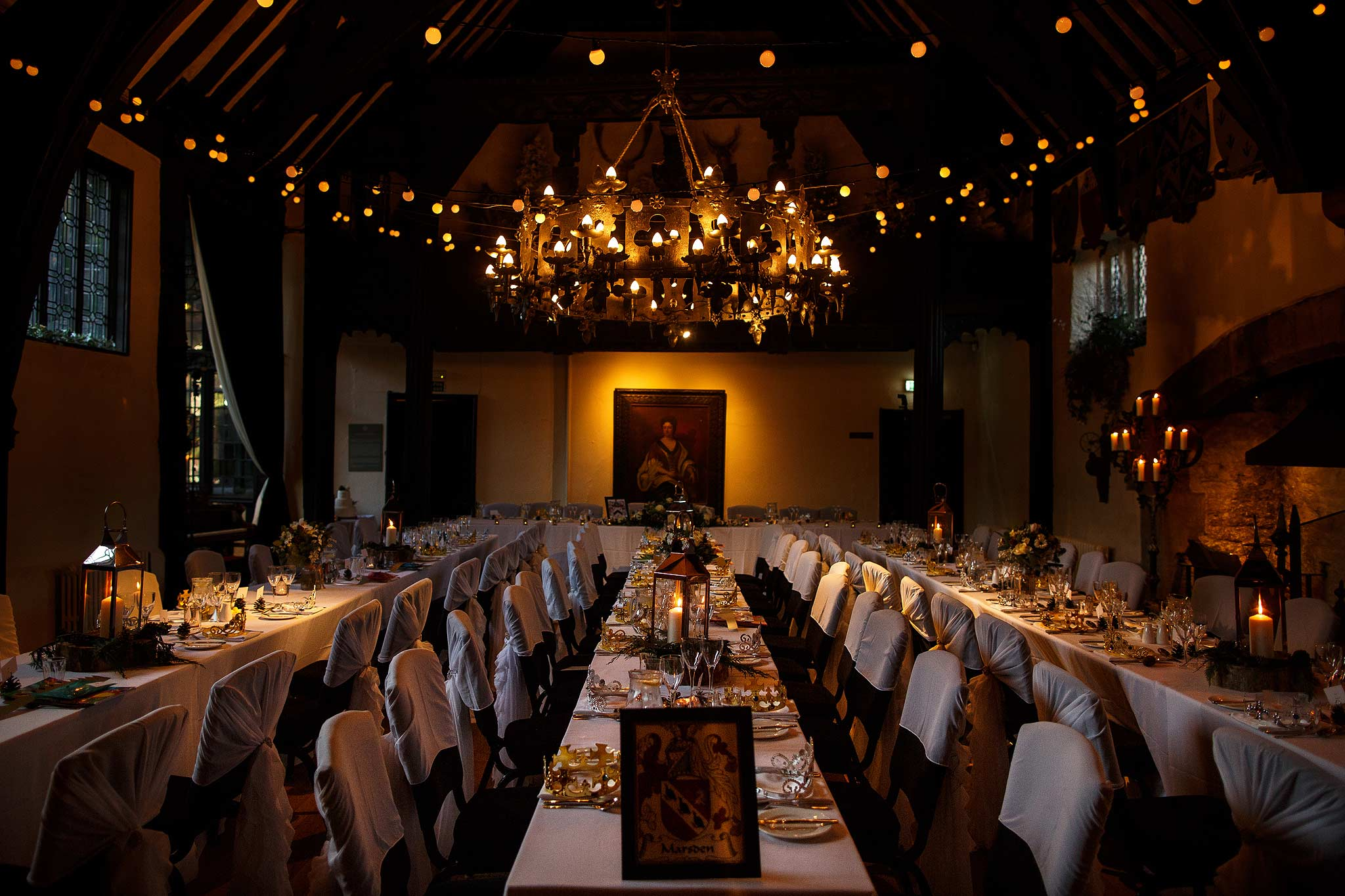 Photograph of the interoir banquet seating layout at Samlesbury Hall