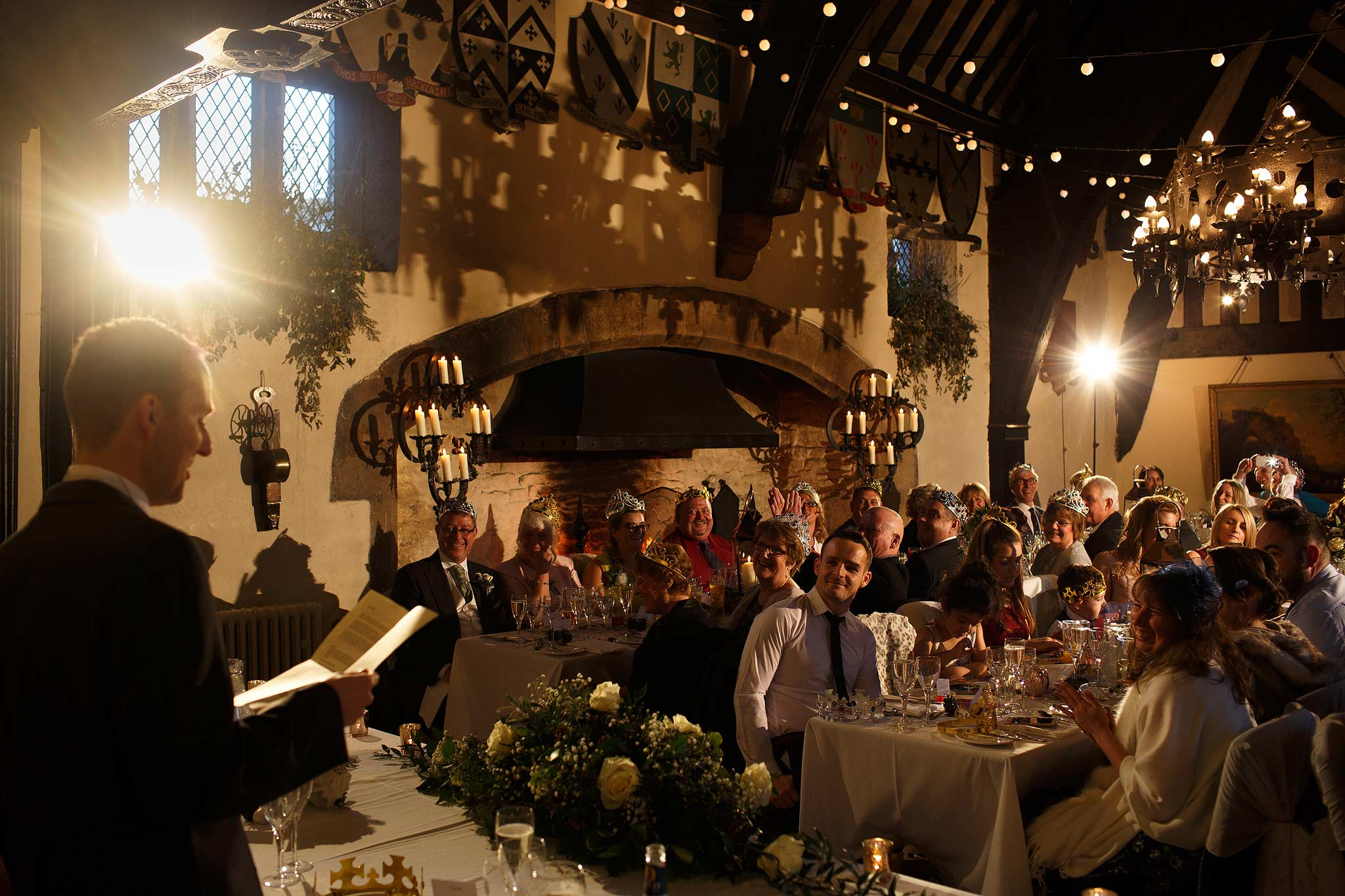 Groom giving his speech to the room at Samlesbury Hall