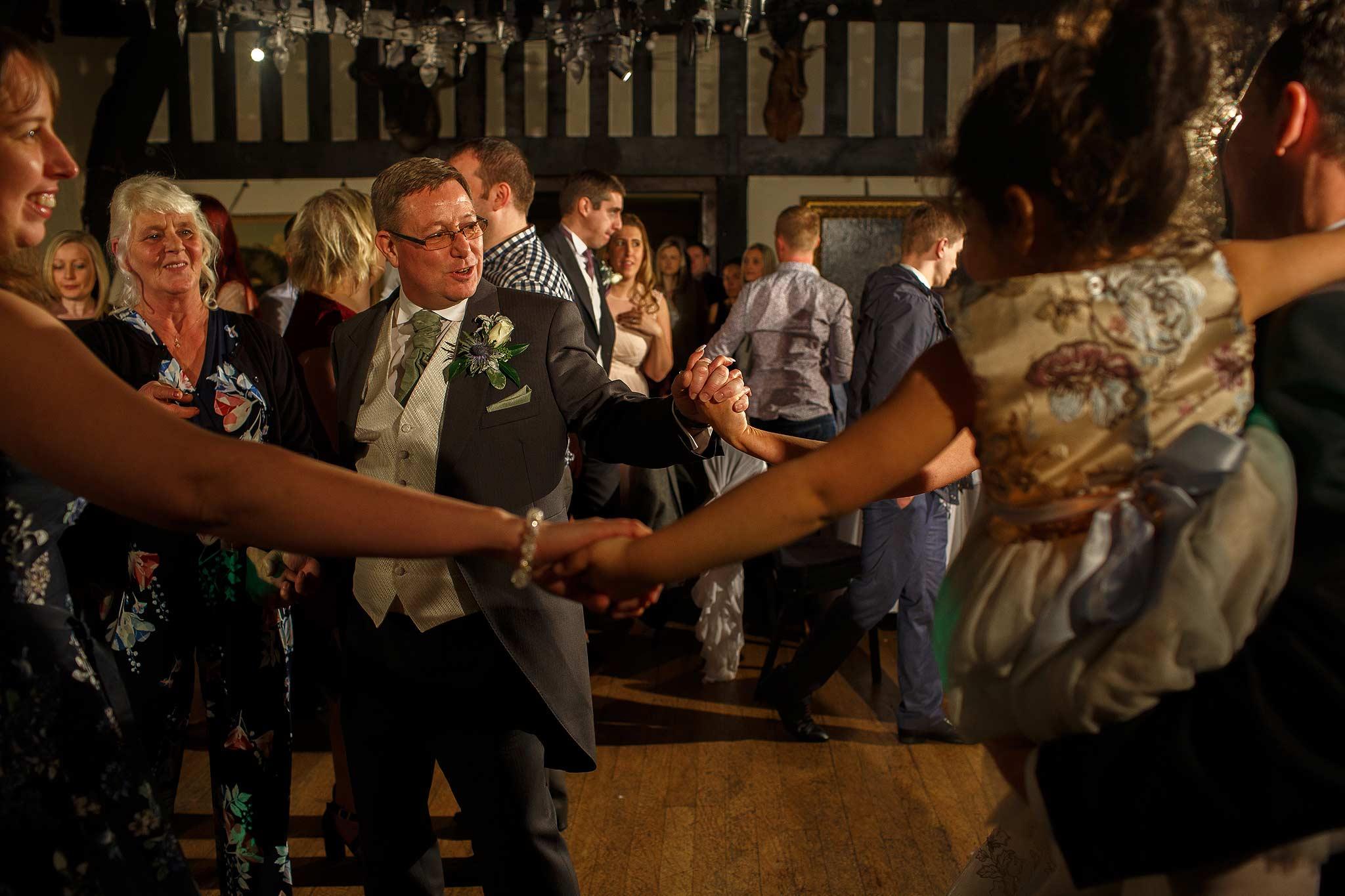 Guests dancing at Samlesbury Hall wedding