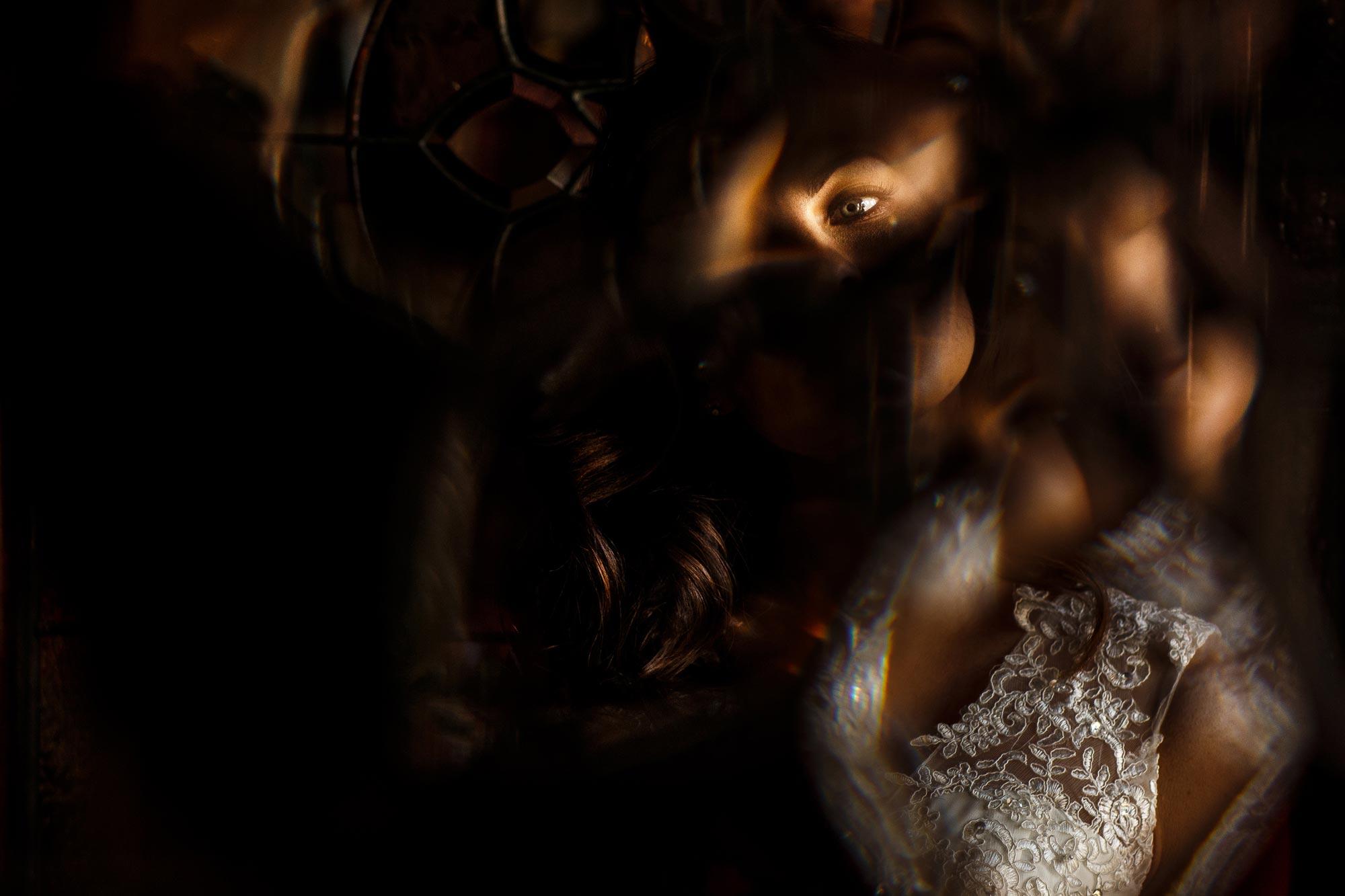 Creative unique wedding photograph of brides facial features
