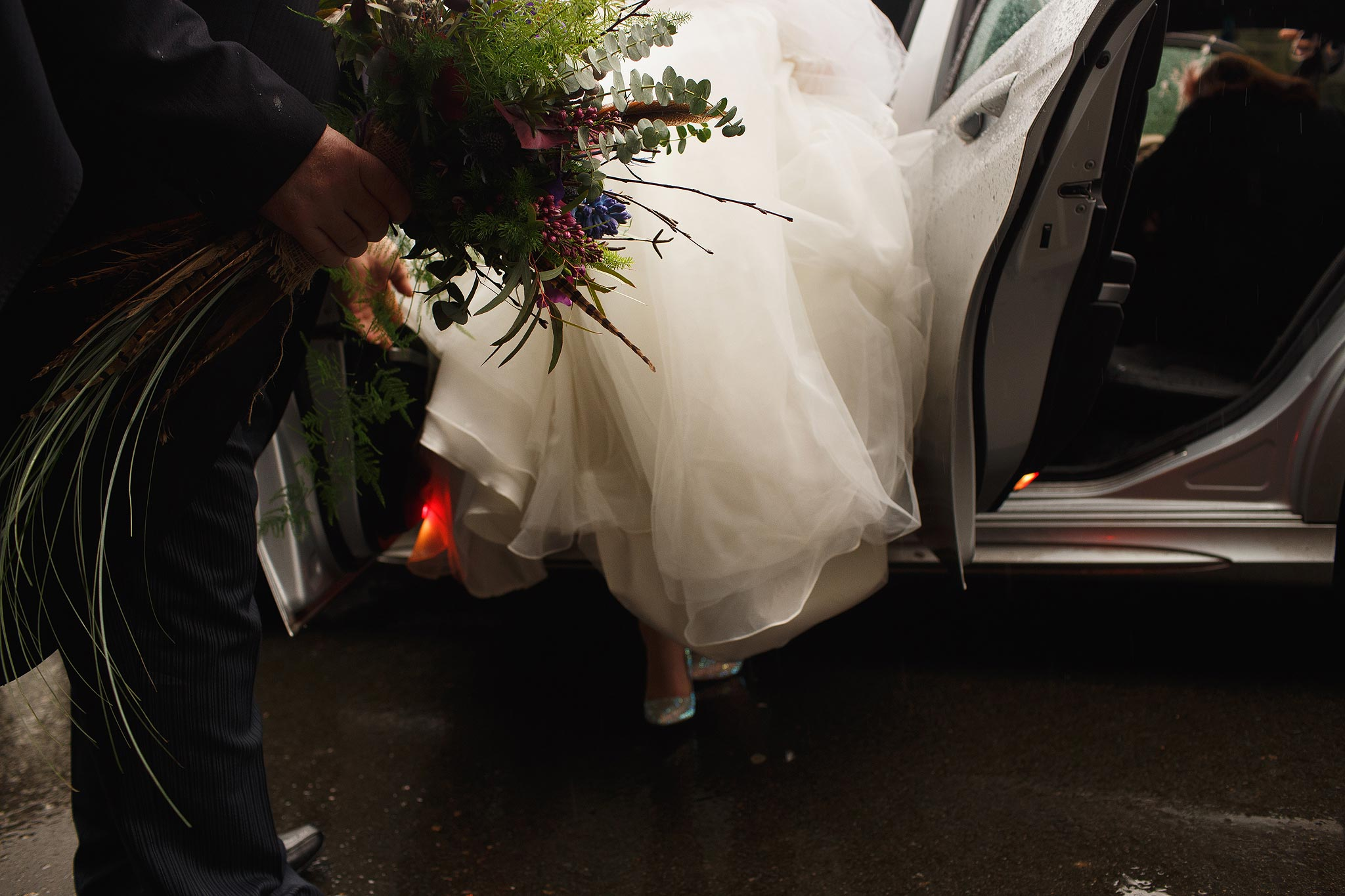 Bride arriving at Samlesbury Hall Wedding