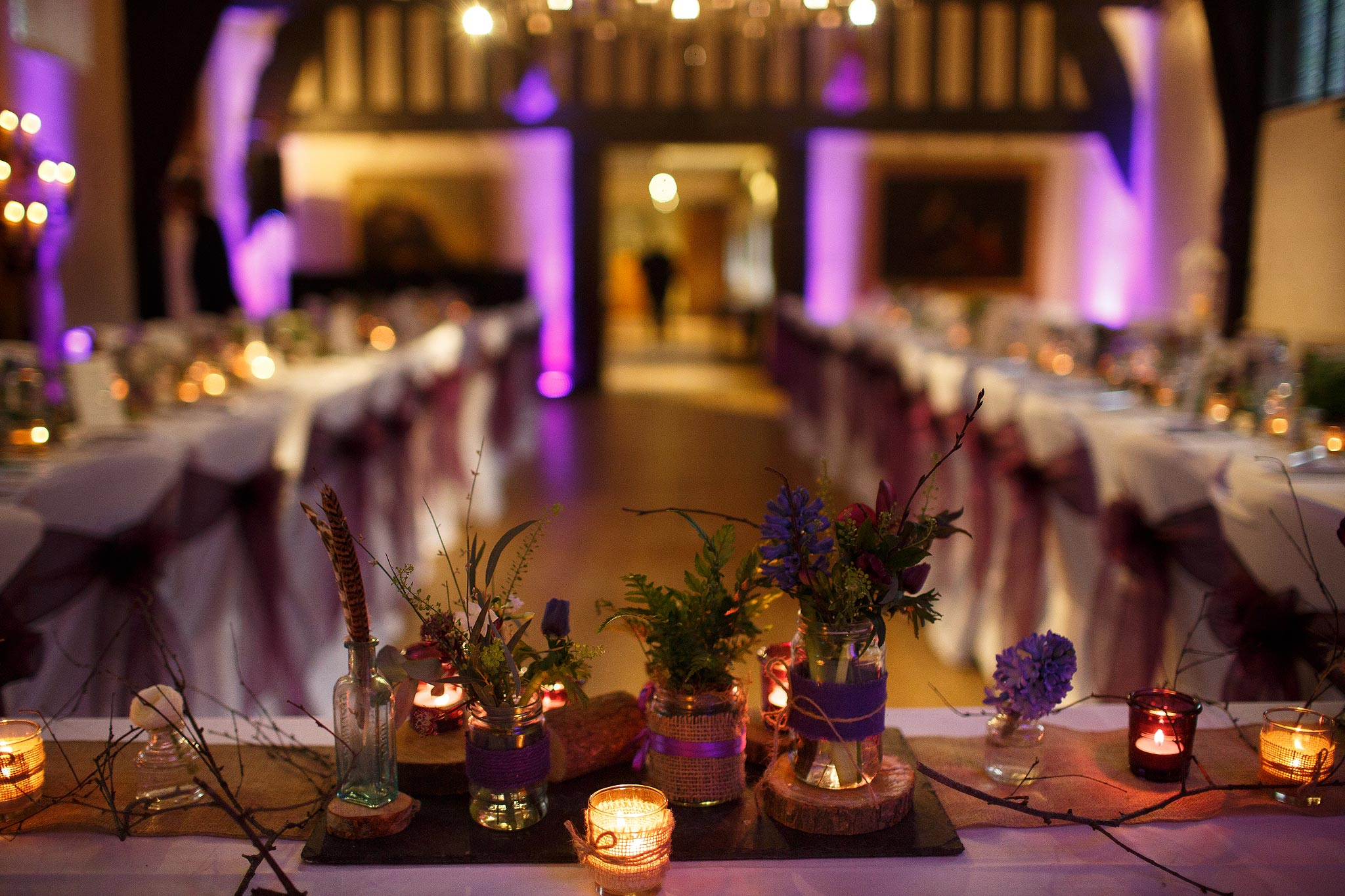 Photograph of the Great Hall all set up for dinner in the banqueting format.