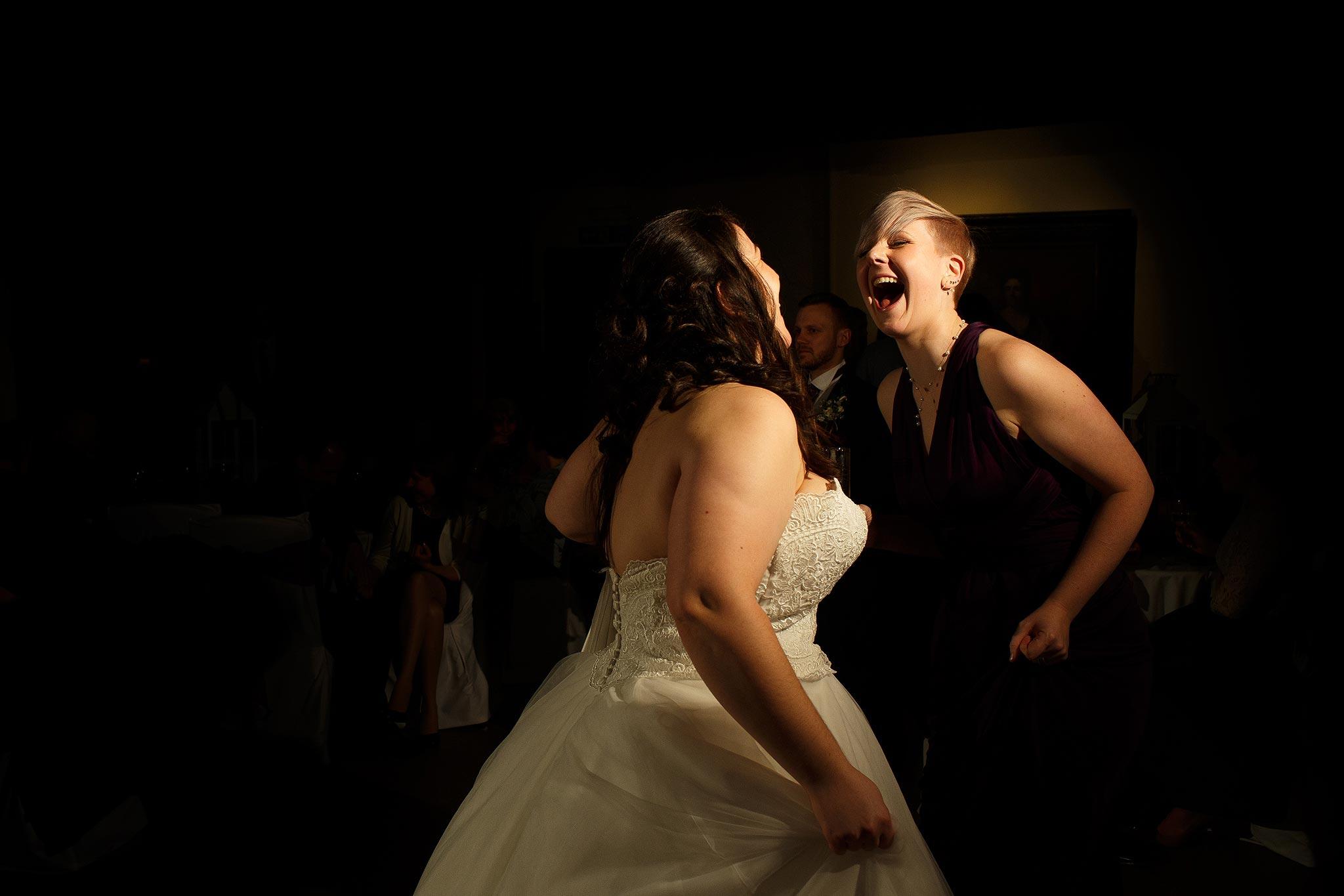 Wedding guests dancing at Samlesbury Hall Wedding