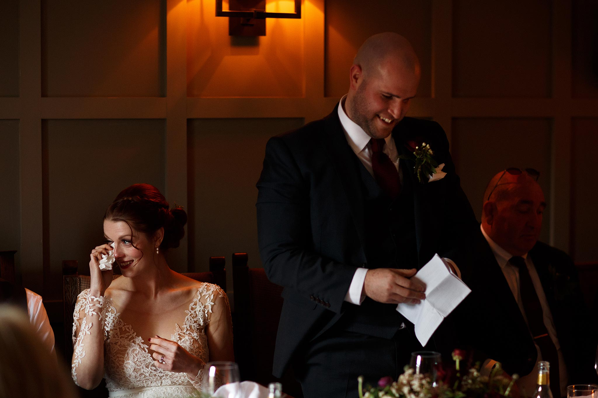 Groom making a speech during his wedding at the Assheton Arms