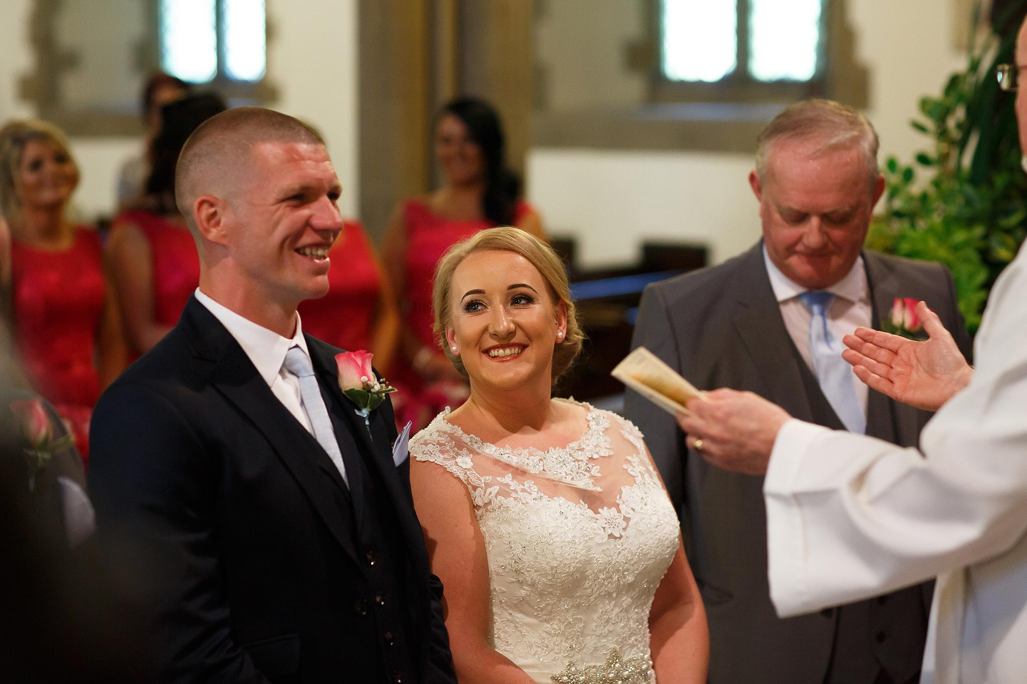 Bride and groom getting married at St Mark's Church Worsley