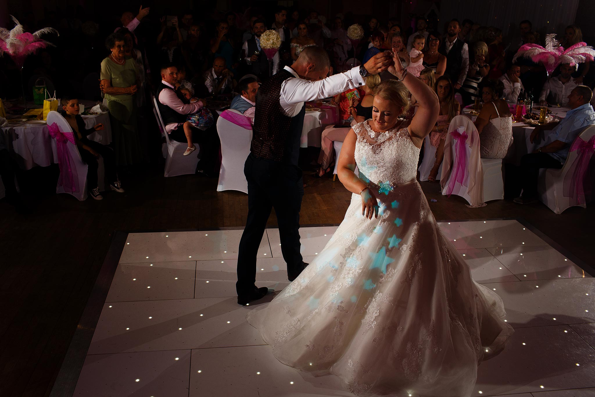 Bride and groom dancing on their wedding day at Swinton Masonic Hall