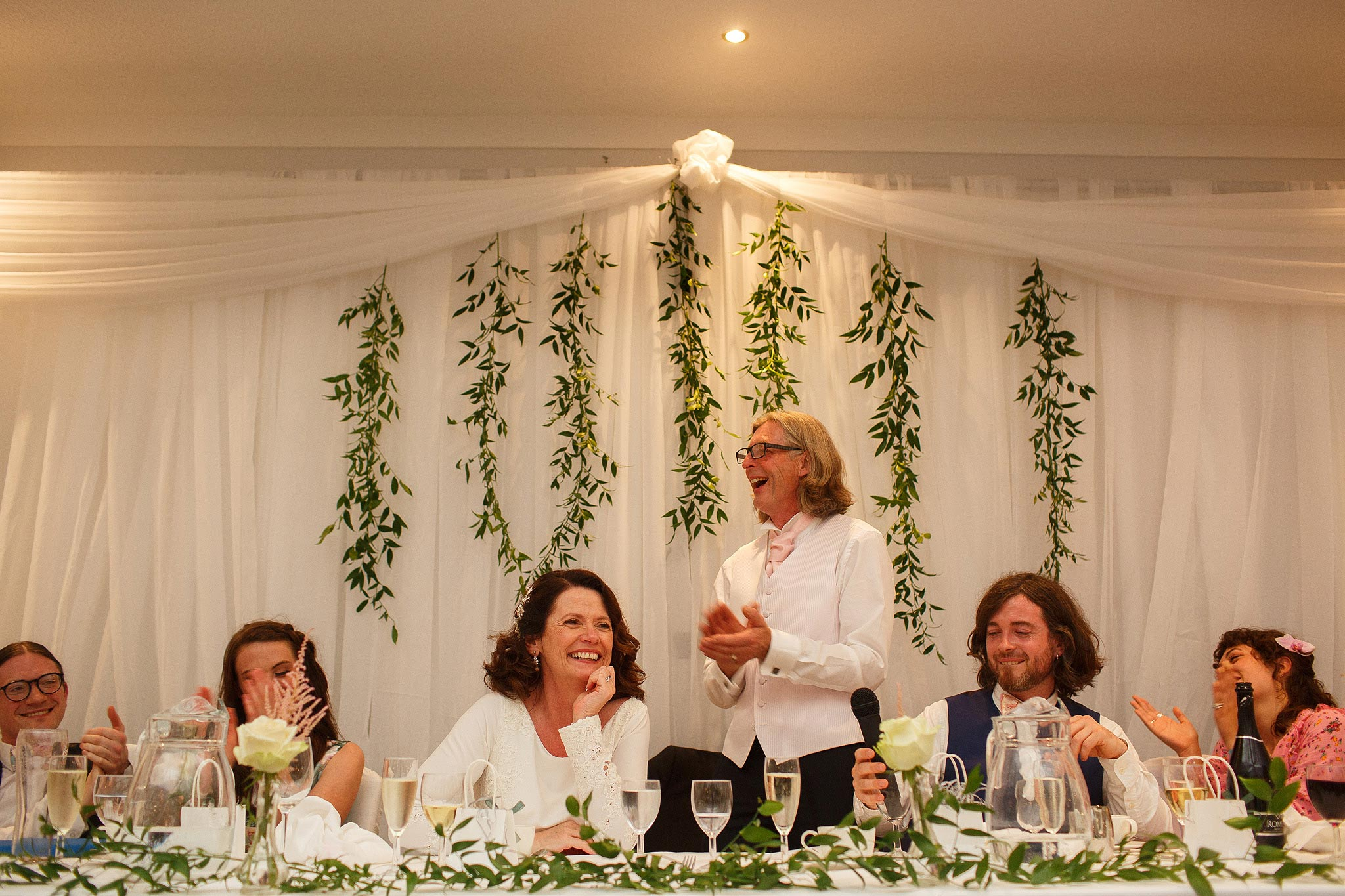 Top table during speeches at Stirk House wedding reception