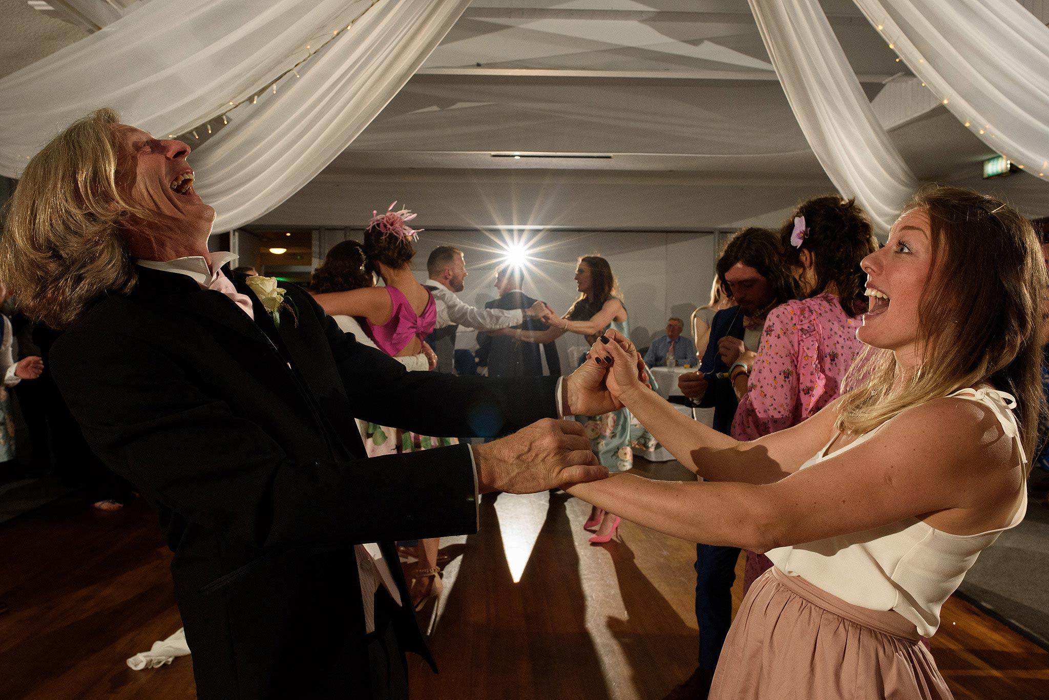 Guests dancing during stirk house wedding reception