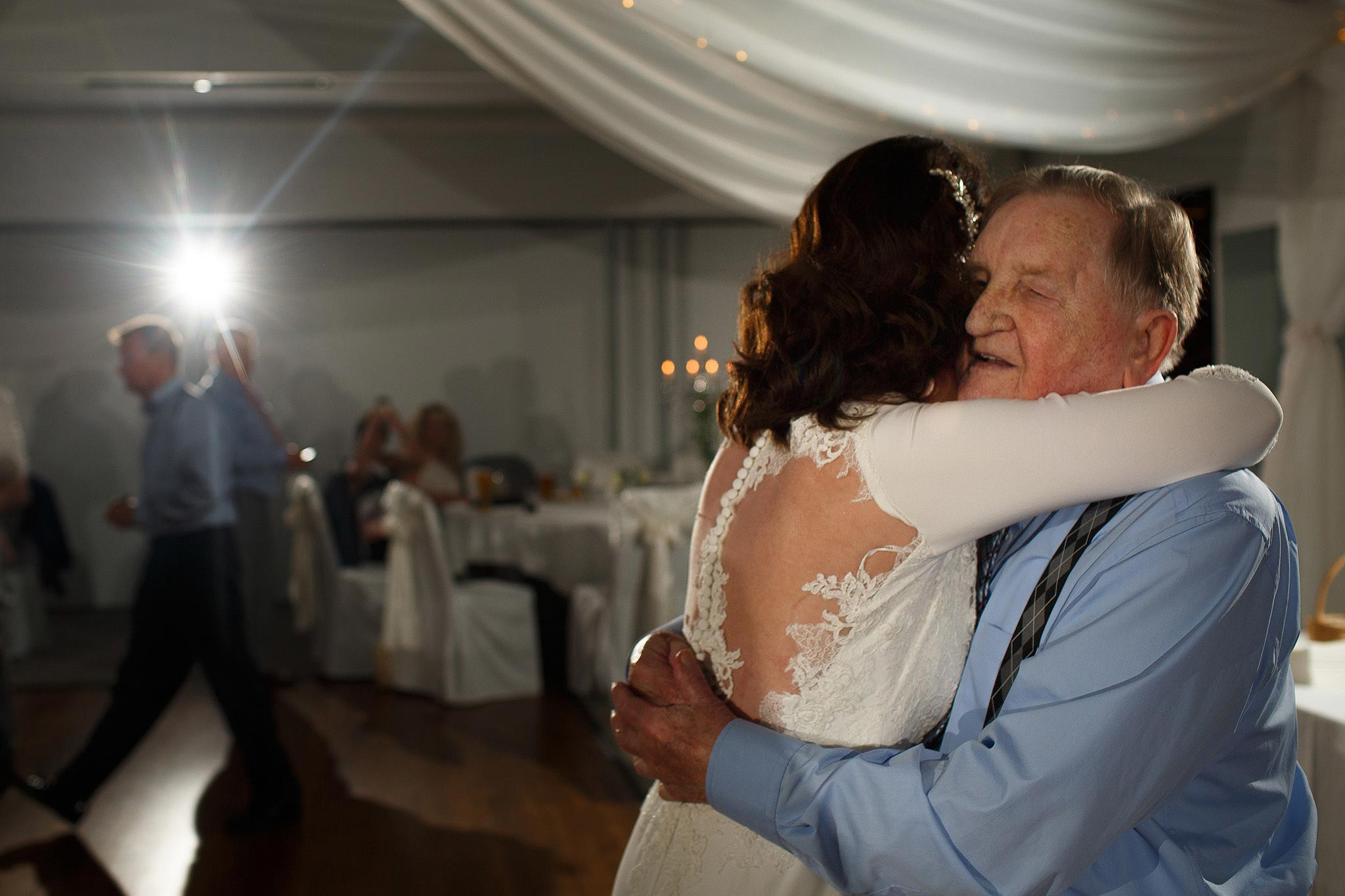Bride dancing with her father during Stirk House wedding recepetion