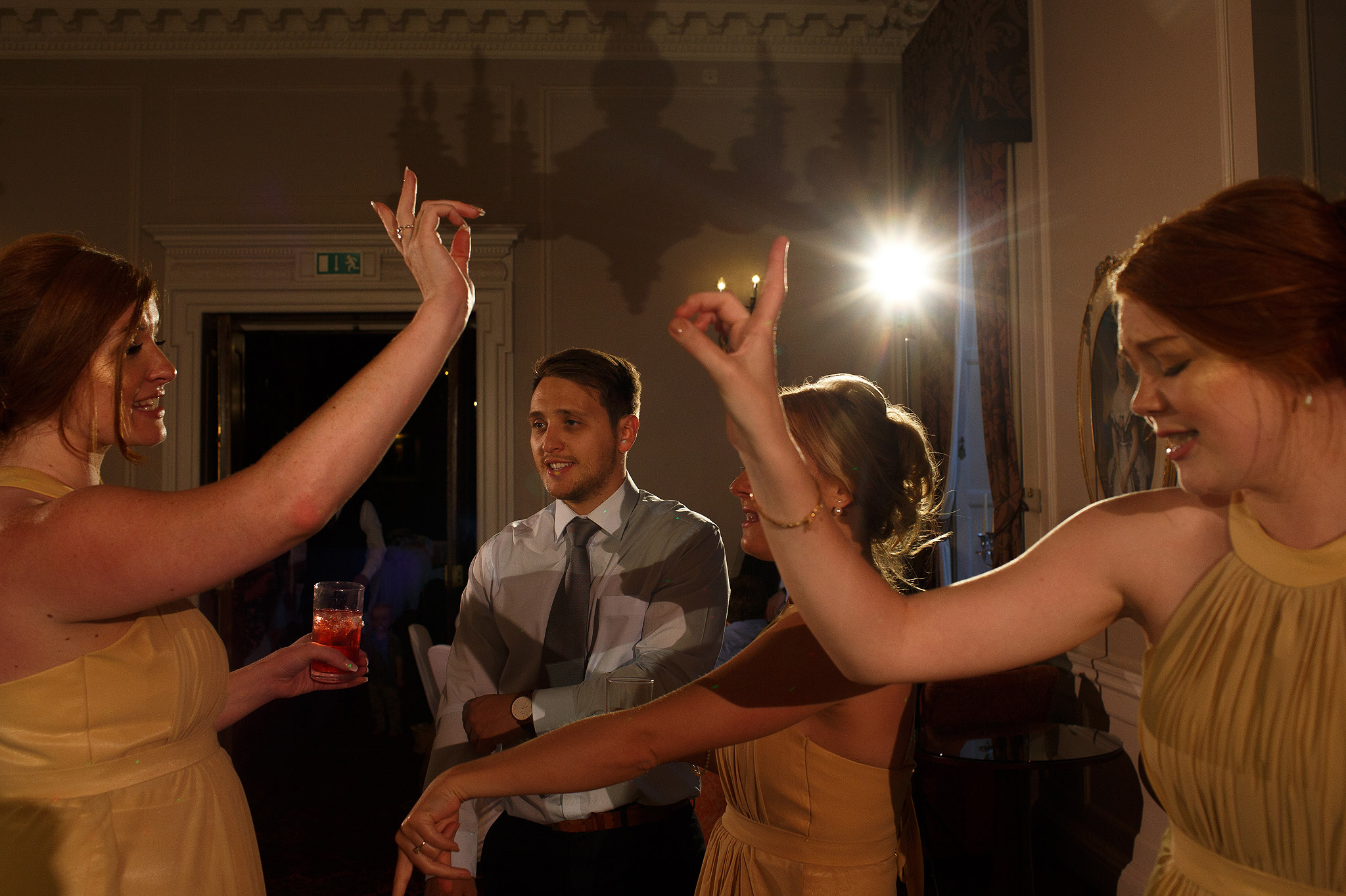 Guests dancing at wedding reception at Crathorne Hall