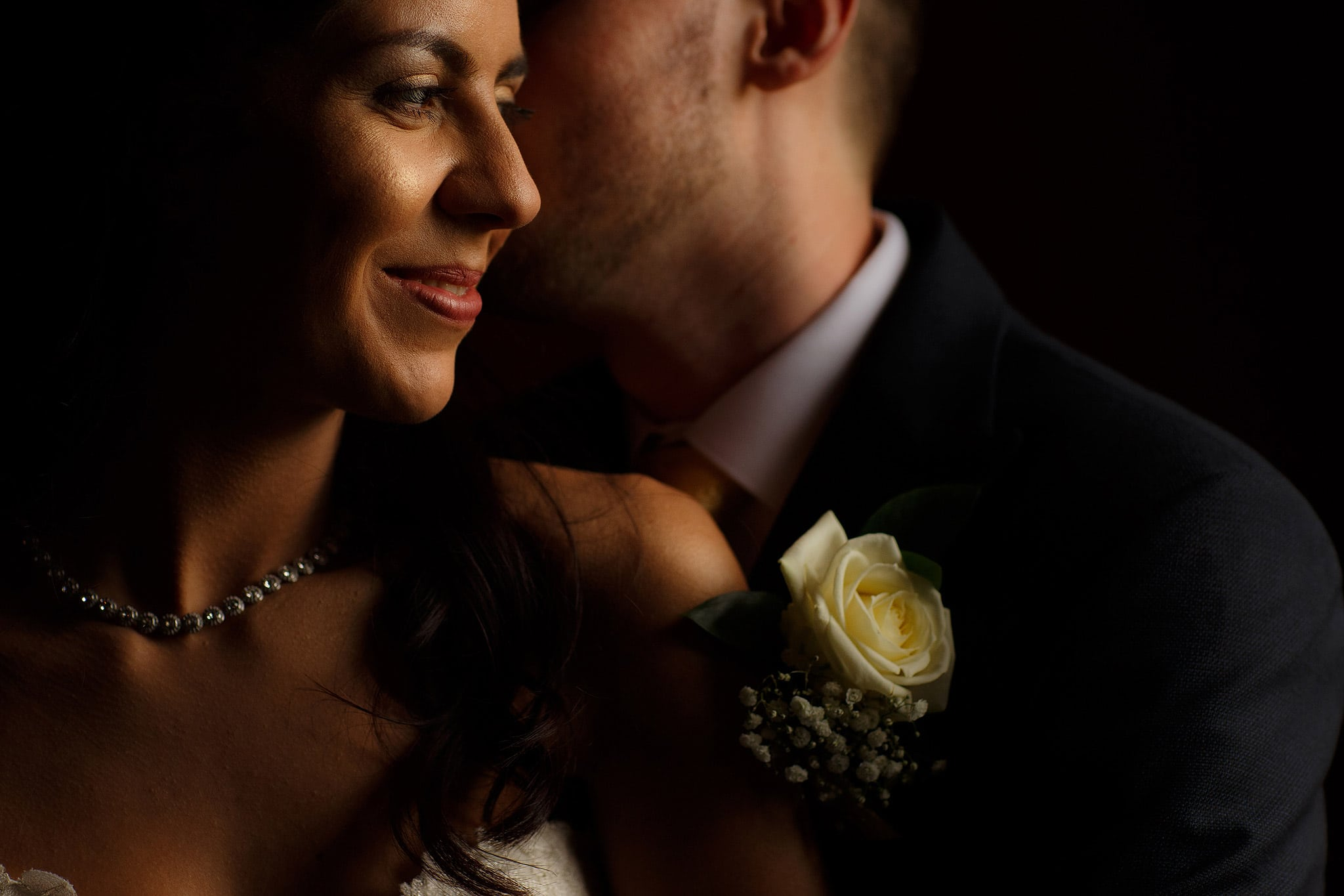close up of bride and groom in beautiful light