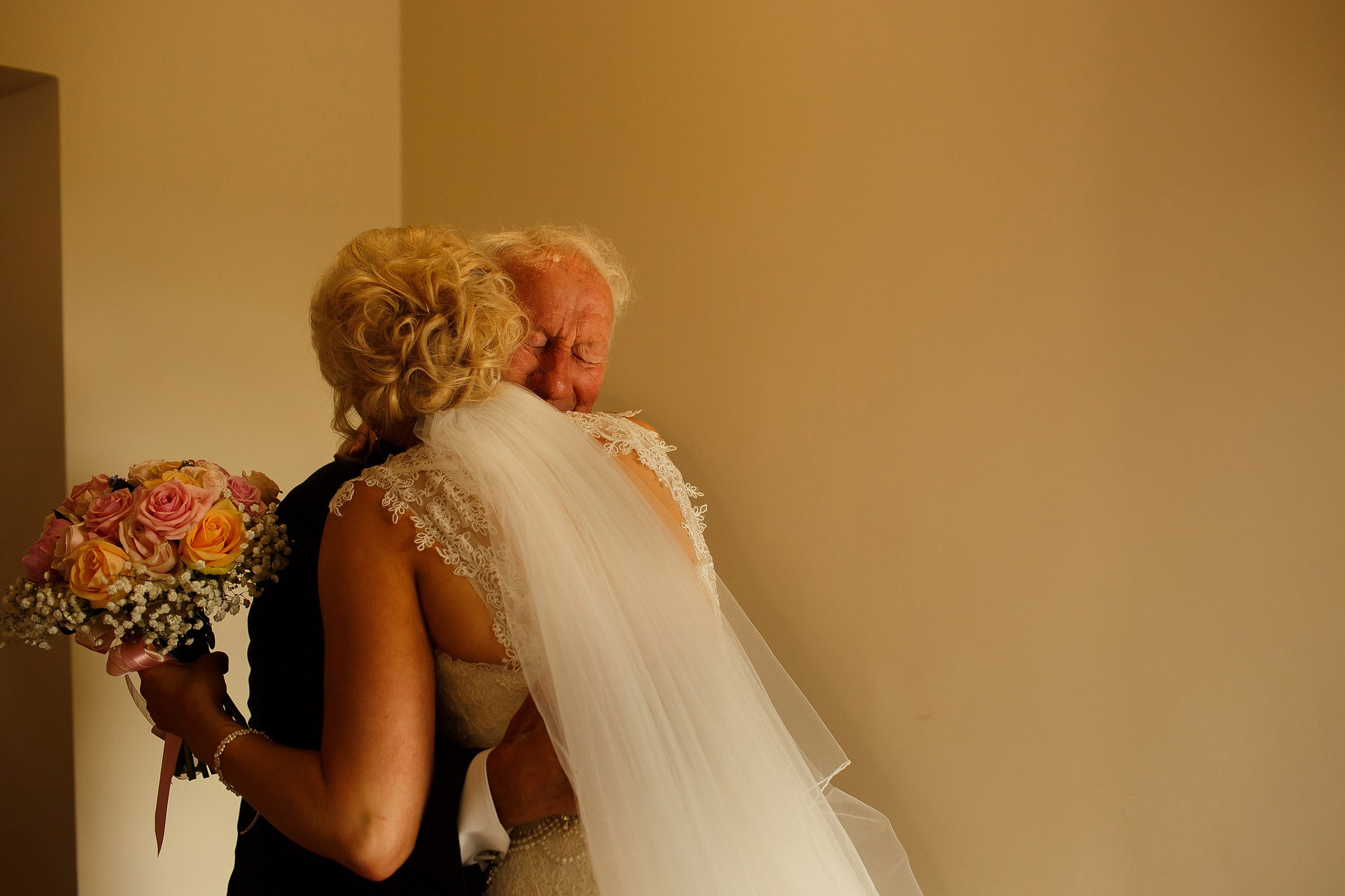 emotional grandfather as he sees bride for the first time