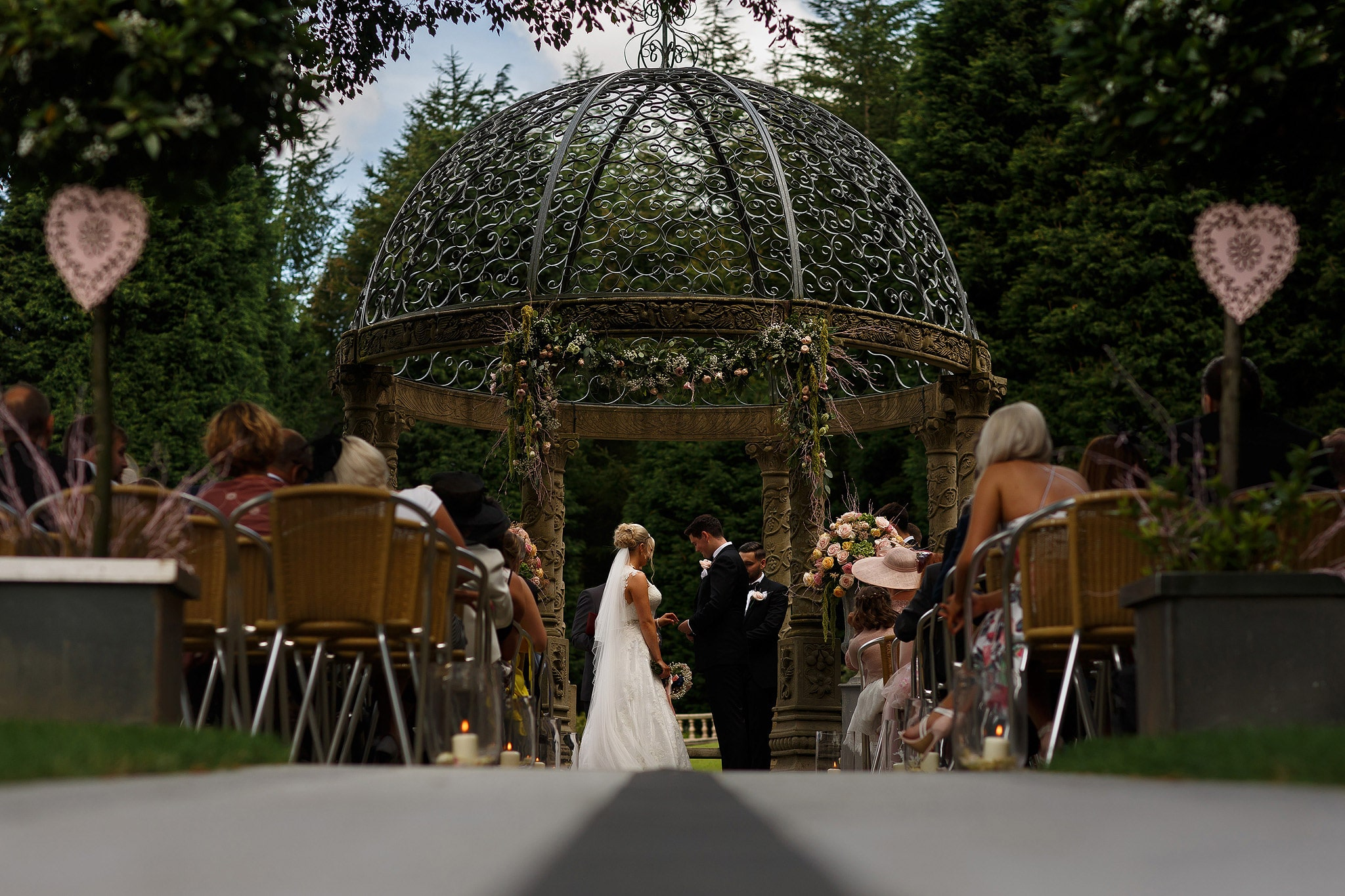 Wide view of outdoor wedding at Saddleworth hotel