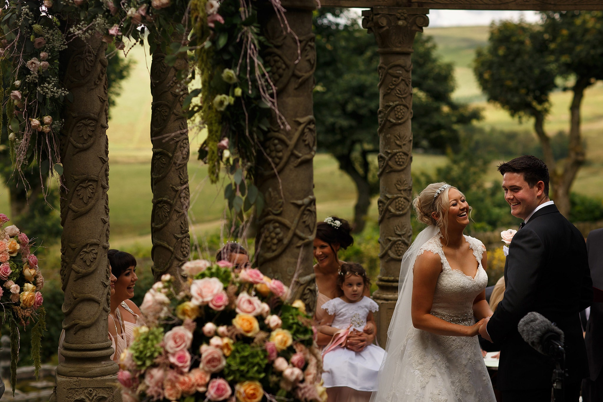 outdoor wedding ceremony at saddleworth hotel