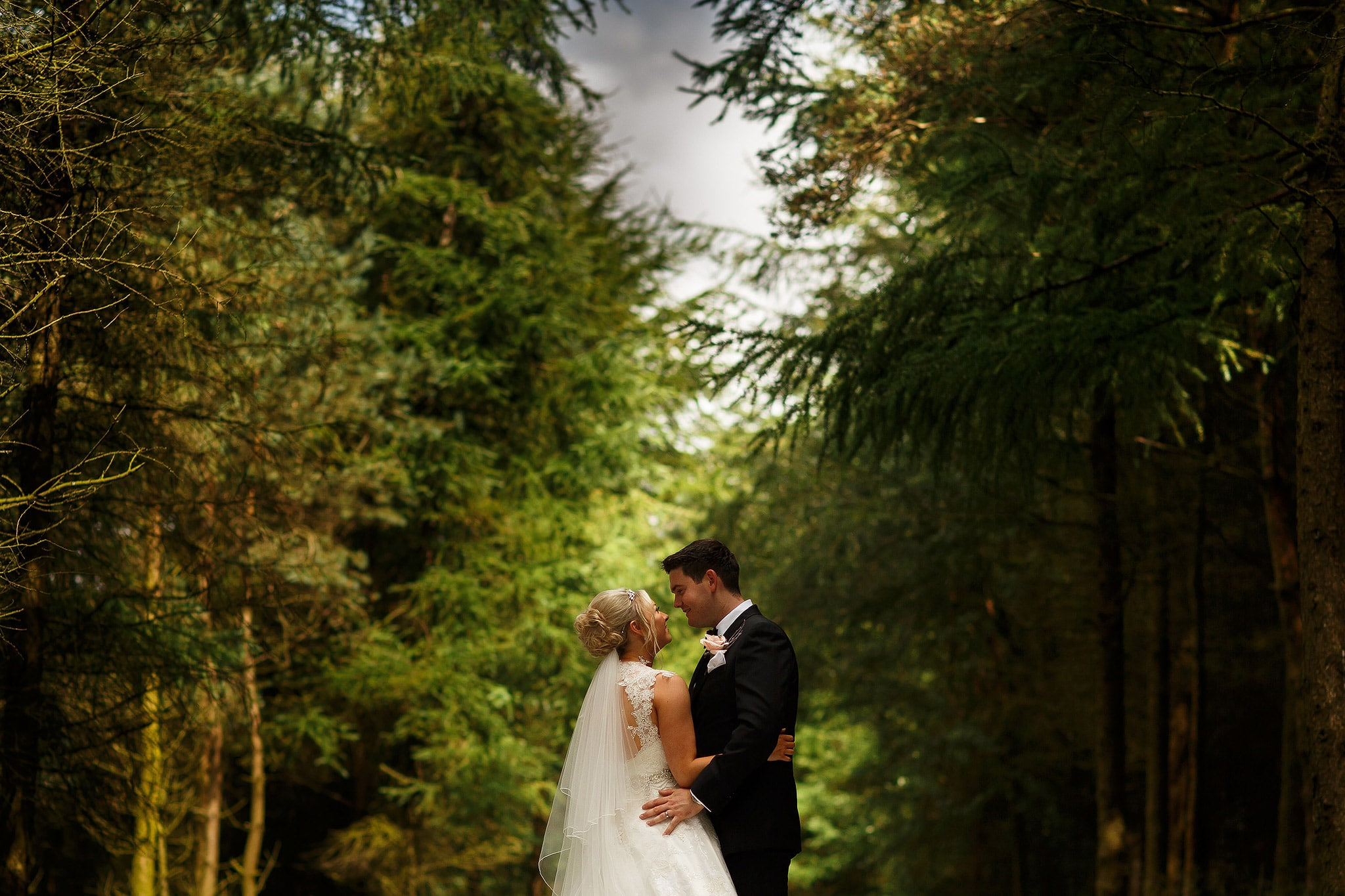 bride and groom deep in the forest