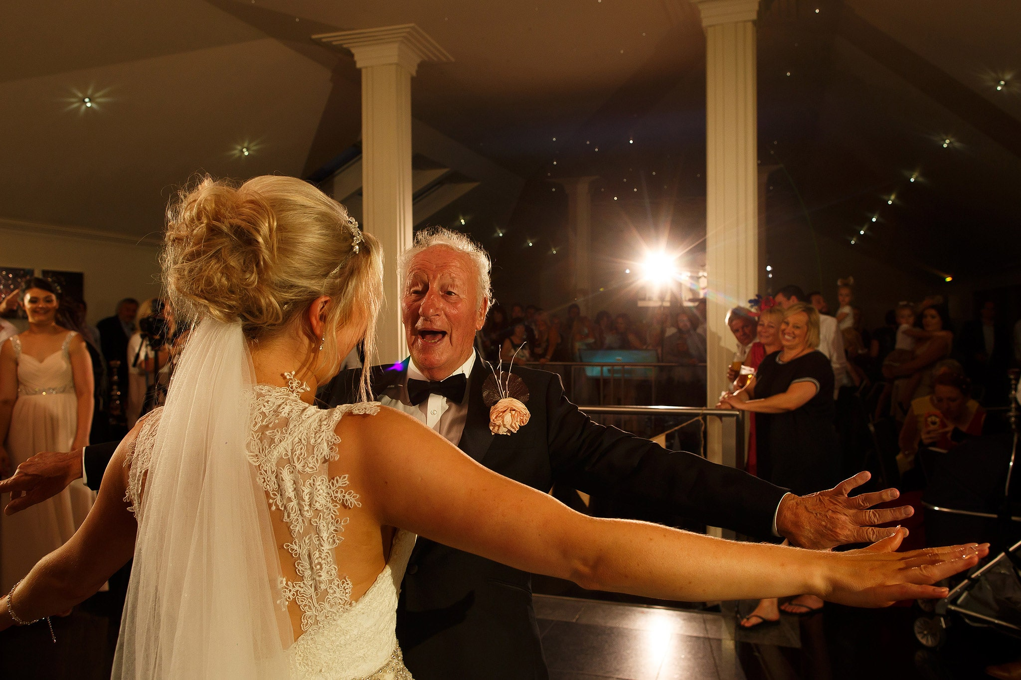 bride dancing with grandfather at saddleworth hotel wedding
