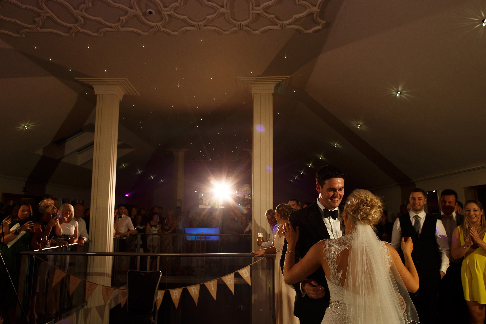 bride and groom dancing at saddleworth hotel wedding reception